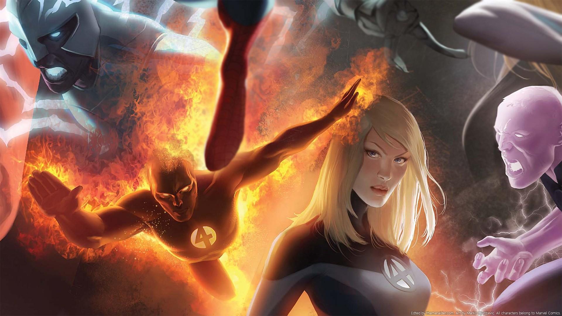 Res: 1920x1080, Marvel Marko Djurdjevic Invisible Woman (Sue Storm) Human Torch (Johnny  Storm) Art
