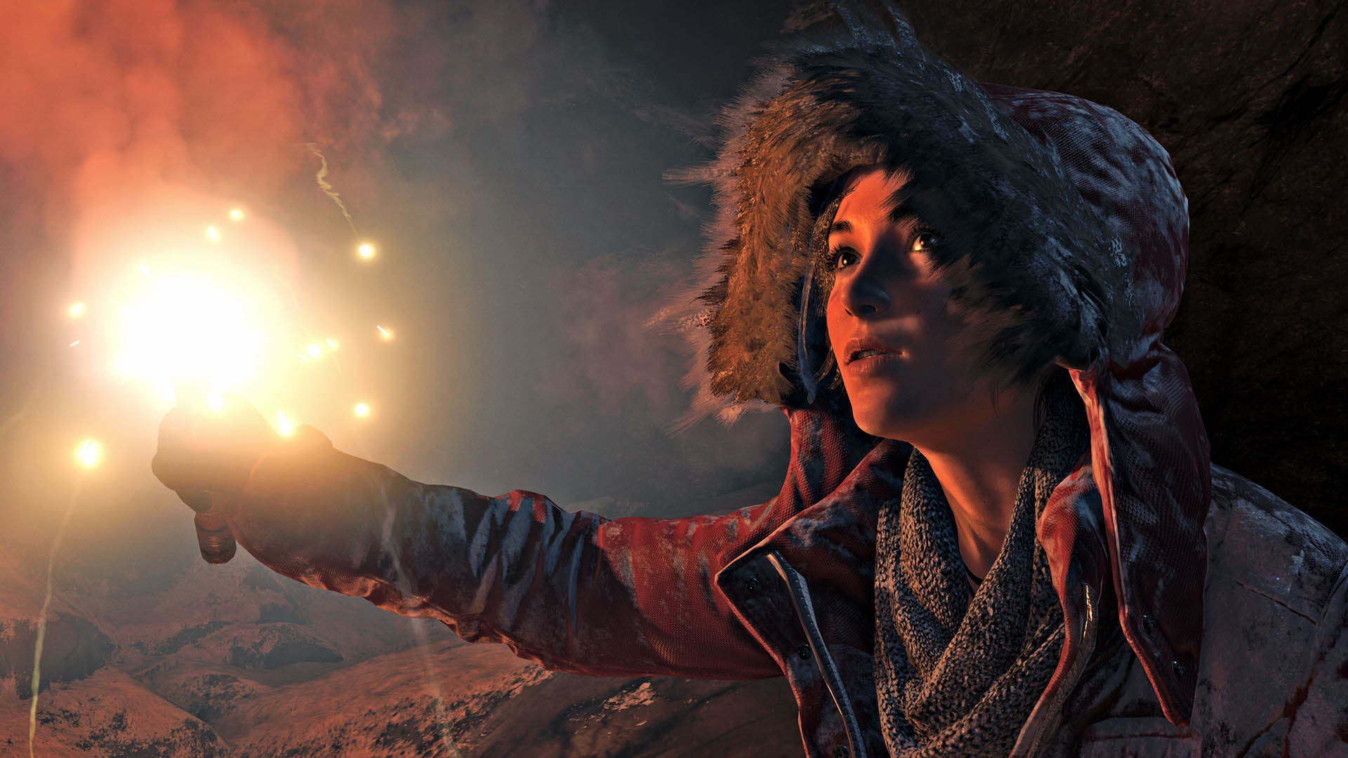 Res: 1920x1080,  Rise of the Tomb Raider: Lara alone with a torch   wallpaper