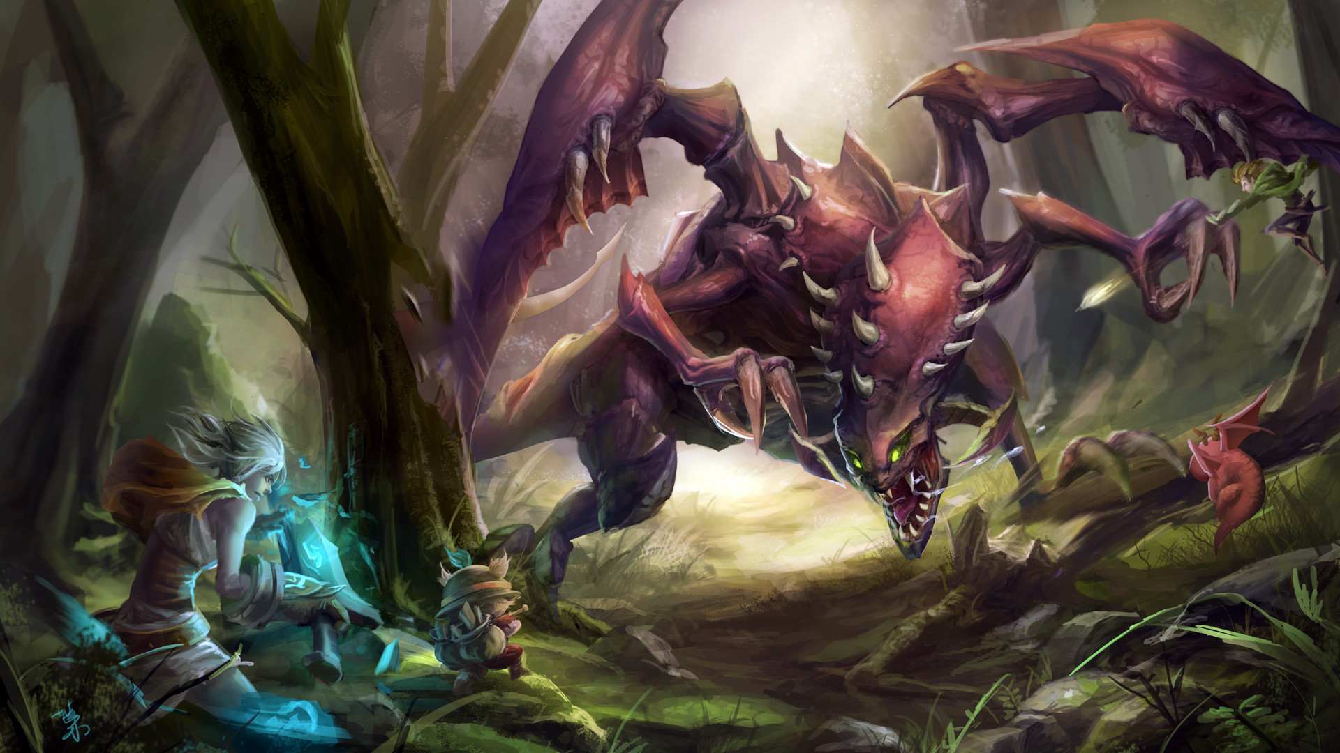 Res: 1920x1080, riven and teemo vs chogath