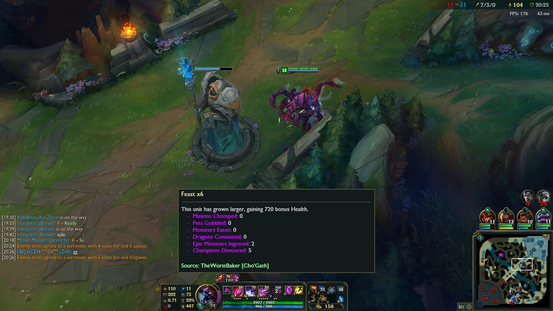 Res: 1920x1080, So i was playing Cho'Gath, slided over my ult stack indicator and noticed  that i should have 7 stacks.
