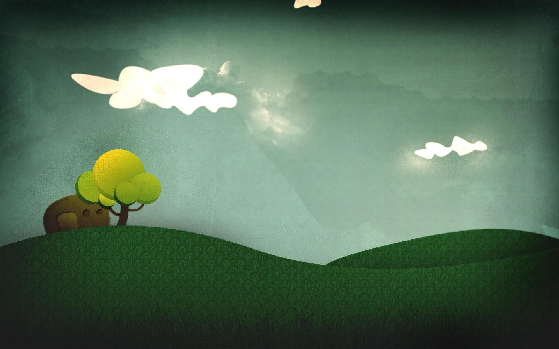 Res: 1920x1200, minimalism cartoon trees grass