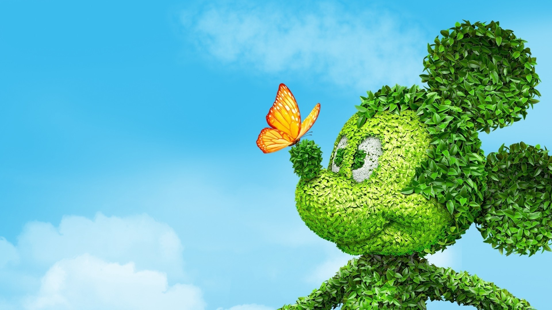 Res: 1920x1080,  Wallpaper mickey mouse, grass, flowers, butterfly, toon