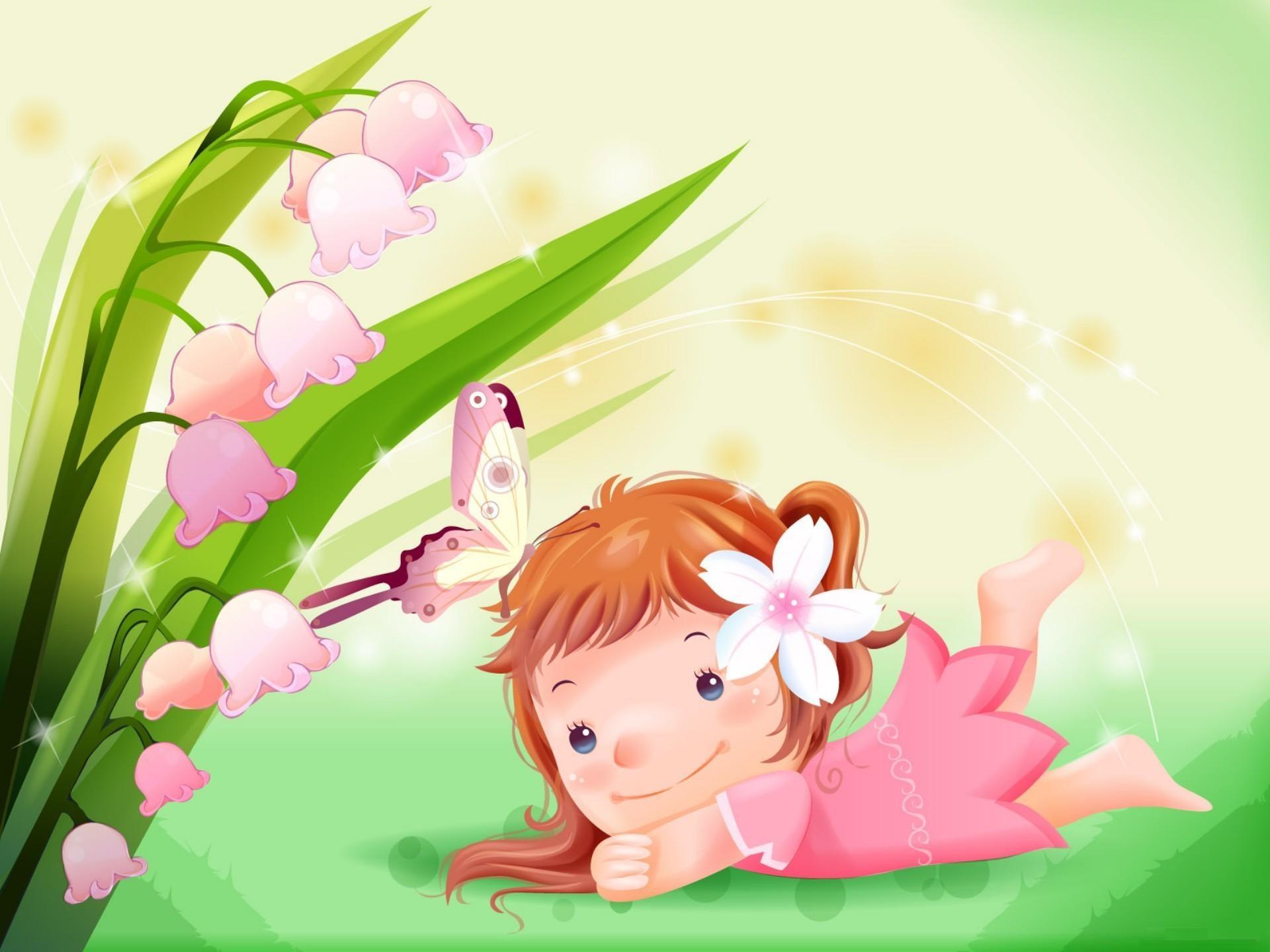 Res: 1920x1440, Cute Cartoon Girl with Flower HD Wallpaper Desktop Backgrounds Free