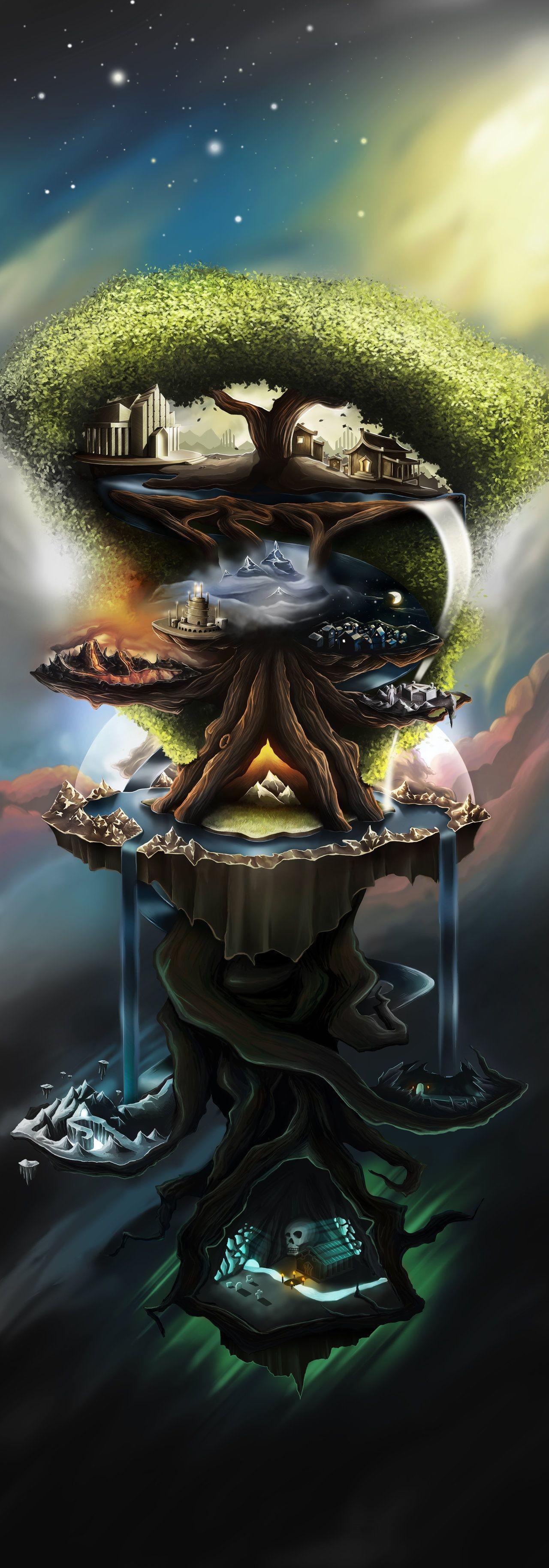 Res: 1280x3657, Yggdrasil Tree Wallpaper Yggdrasil the world treeby