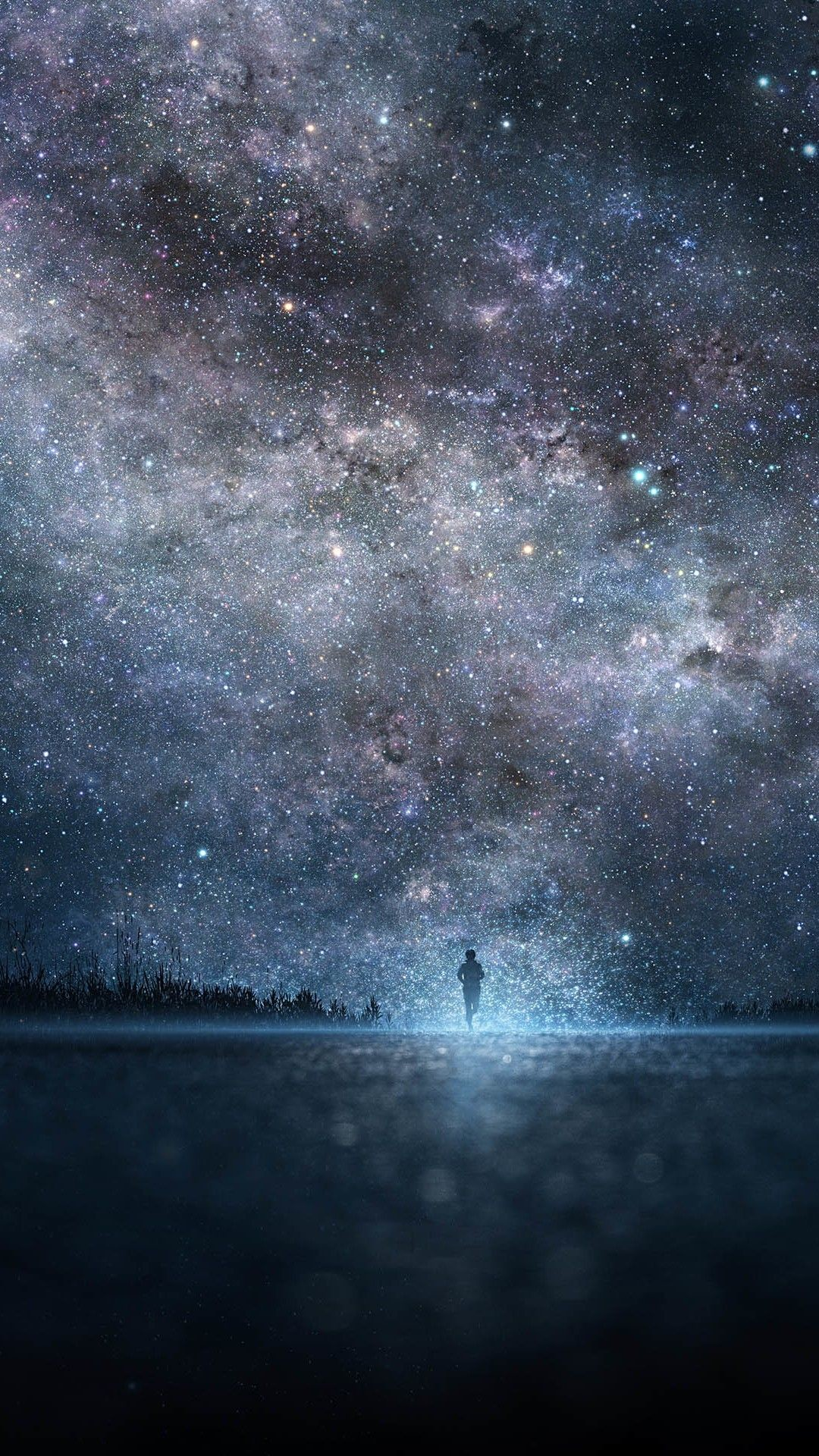Res: 1080x1920, Amazing Shiny Starry Skyscape Lonely Man Shadow #iPhone #6 #plus #wallpaper