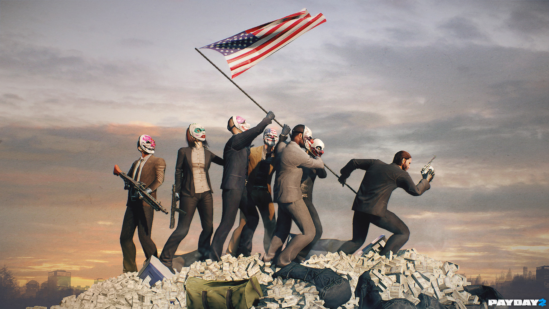 Res: 1920x1080, Payday 2 Payday: The Heist sky