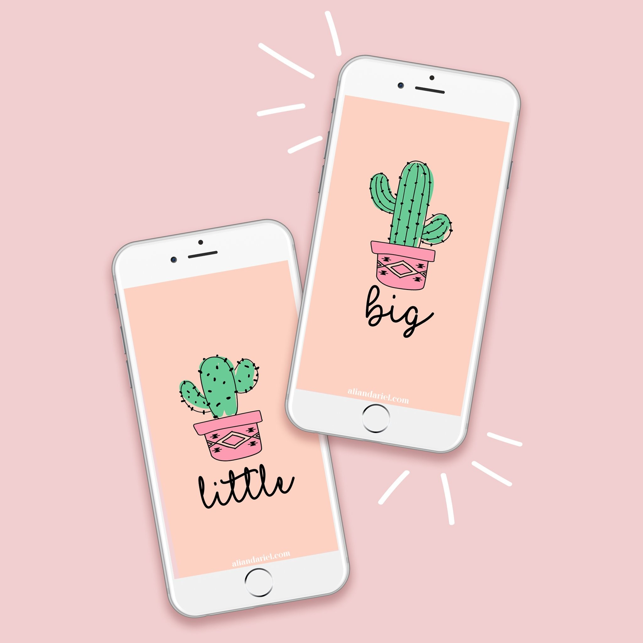 Res: 2048x2048, Big Little Saguaro and Prickly Pear Cactus FREE iPhone Wallpaper Download