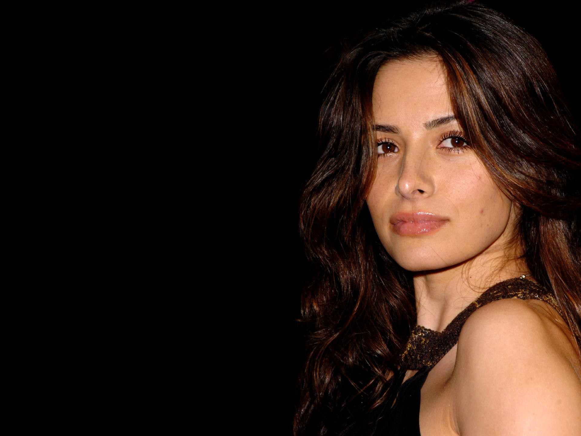 Res: 1920x1440, ... brunettes, women, actress, Sarah Shahi, simple background, black  background - related ...