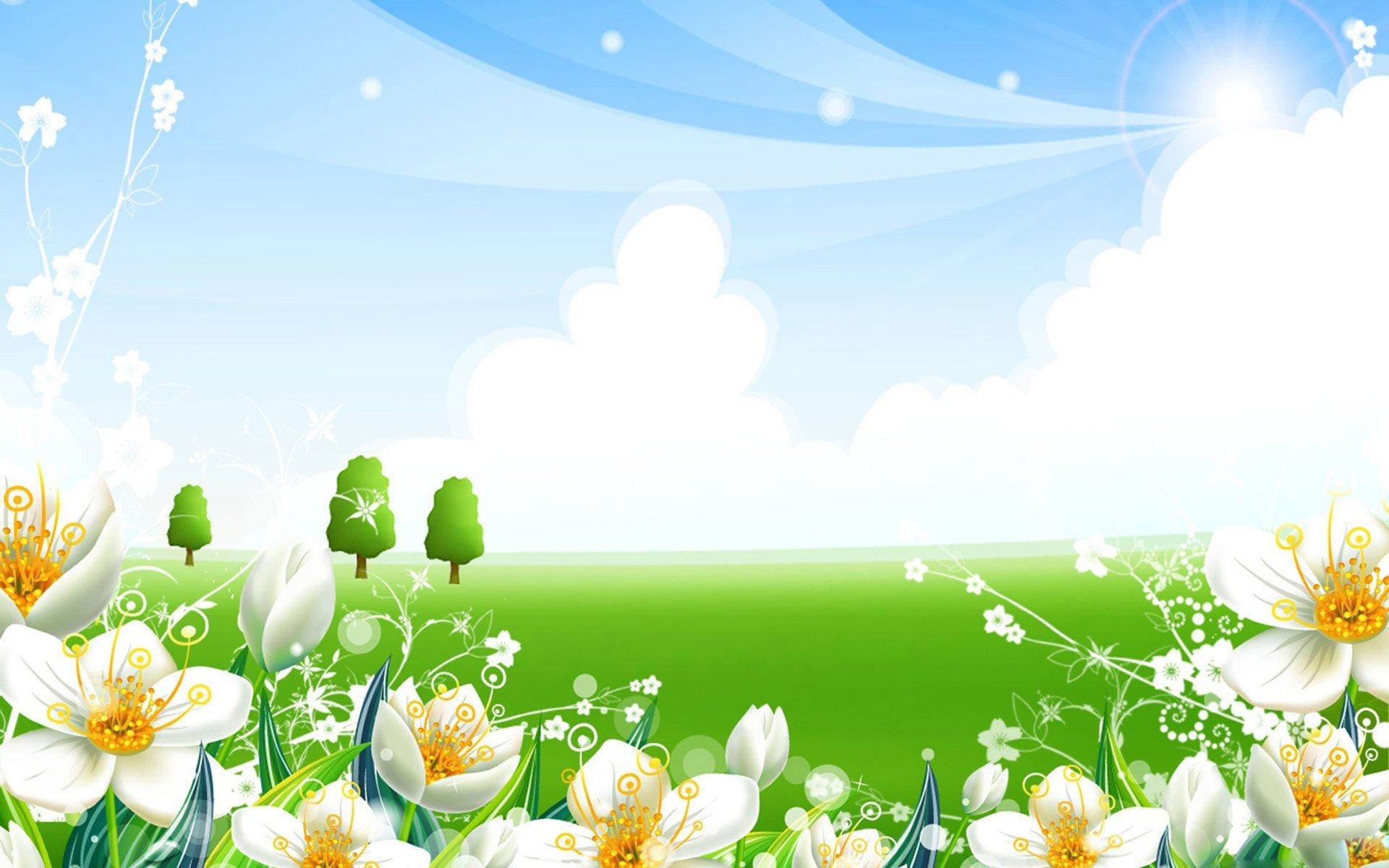 Res: 1920x1200, Blue and green summer theme HD wallpaper in high resolution