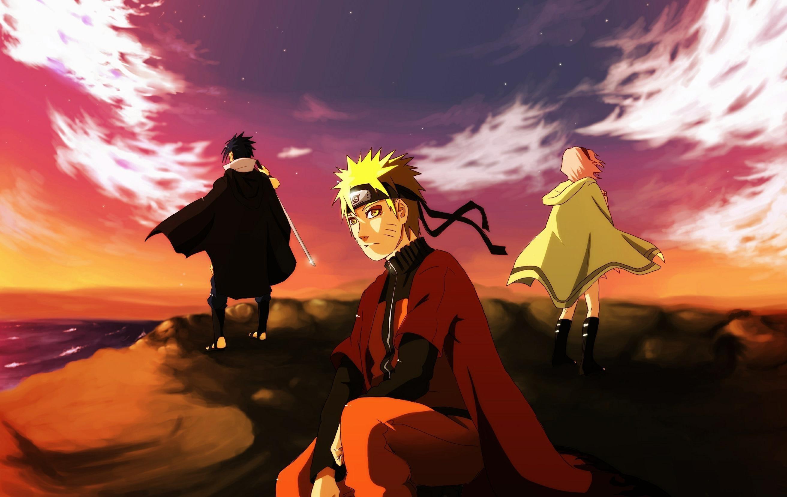 Res: 2624x1658, Naruto, Team von sieben, Sasuke Uchiha, Kunst, Meer, Klippe, Naruto  Uzumaki, Sakura haruno