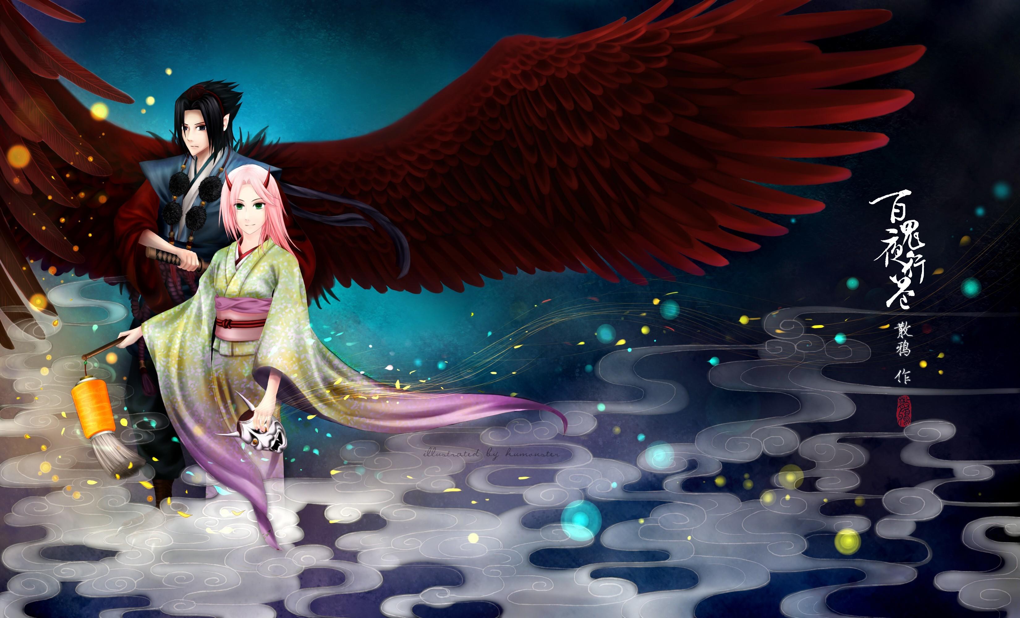 Res: 3300x2000, Wings Haruno Sakura Uchiha Sasuke Naruto: Shippuden kimono artwork  traditional dressing fan art wallpaper      222555   WallpaperUP