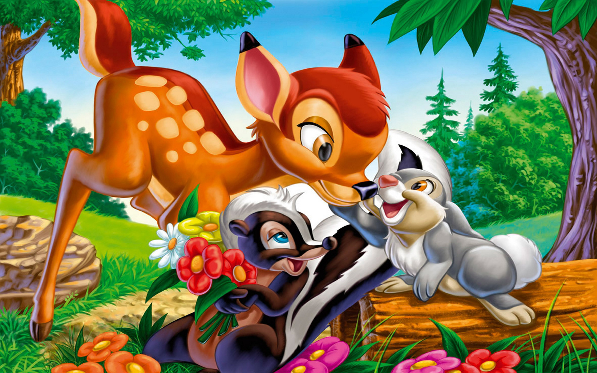 Res: 1920x1200, Bambi Thumper And Flower .