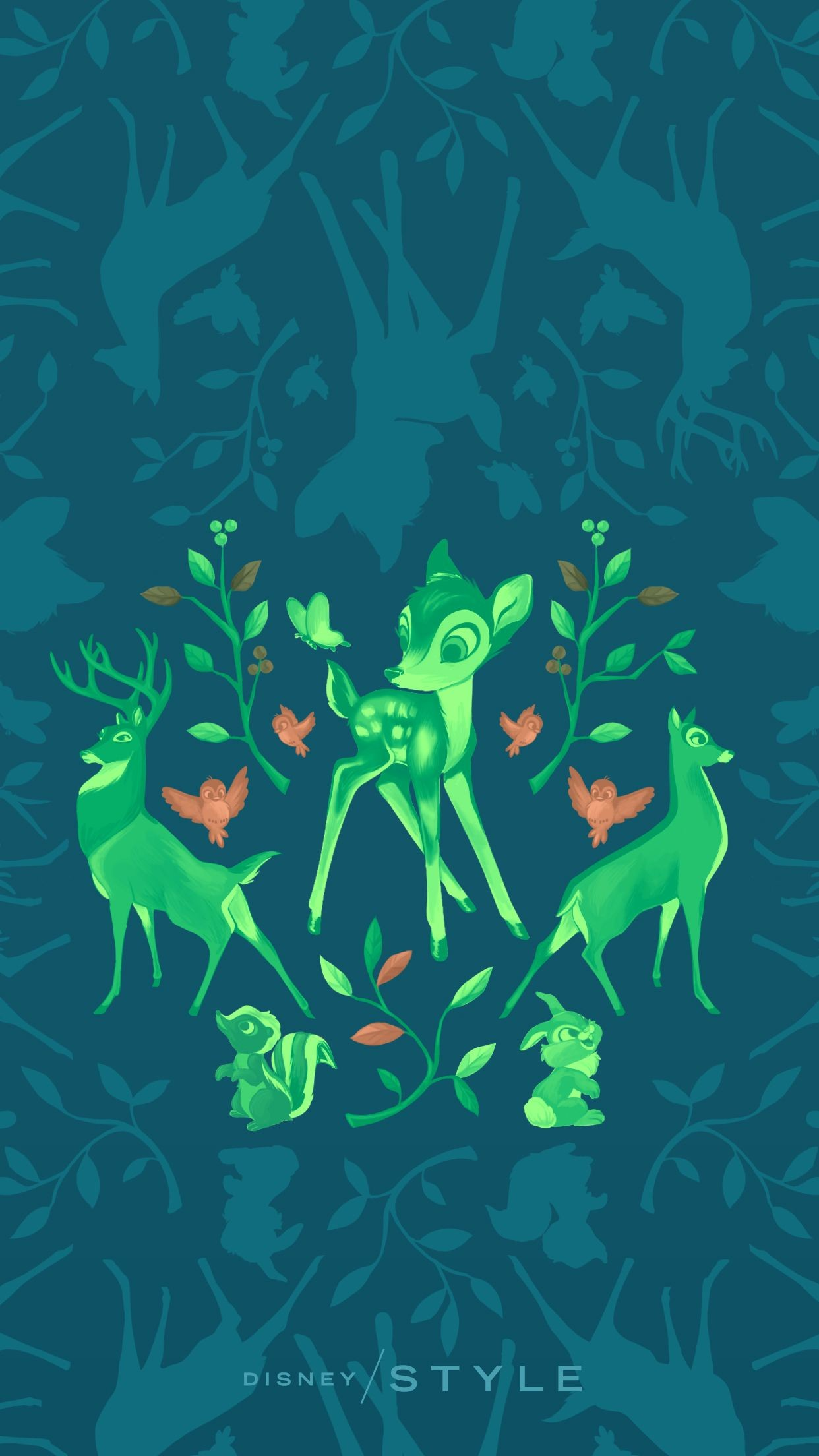 Res: 1242x2208, Bambi | [ https://style.disney.com/living/2016/03/23/disney-animal- wallpapers-for-your-phone/ ]