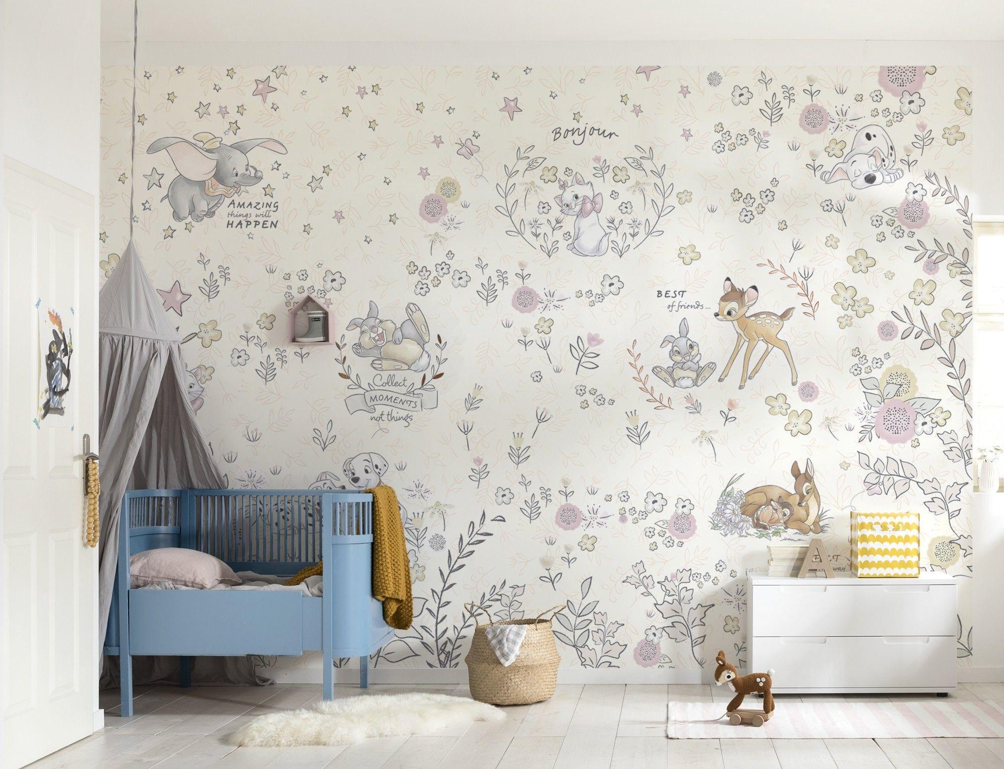 Res: 2000x1532, Nursery wallpaper Bambi Dalmatians and more Disney