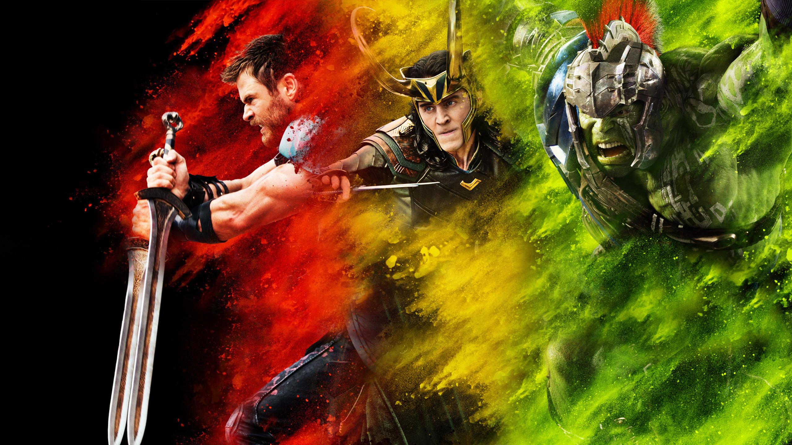 Res: 2560x1440, Filme - Thor: Ragnarok Thor Chris Hemsworth Loki Tom Hiddleston Hulk Mark  Ruffalo Wallpaper
