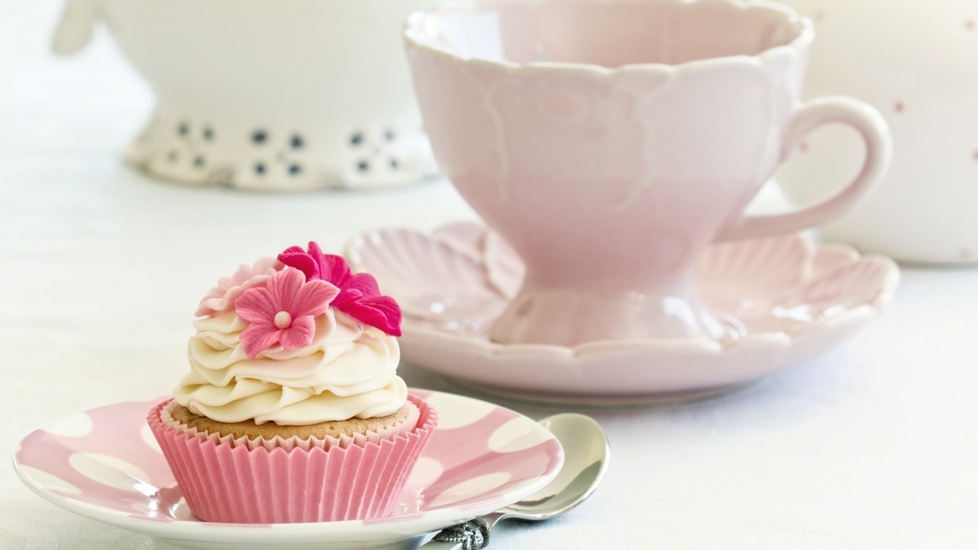 Res: 1920x1080, Cake cupcake cream white flowers pink food dessert sweet dishes wallpaper |   | 166343 |