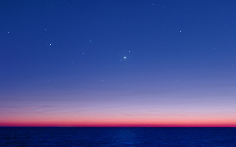 Res: 2880x1800, Wallpaper Pleiades, Aldebaran, twilight, Jupiter, ocean, Venus » City,  nature, landscape photos