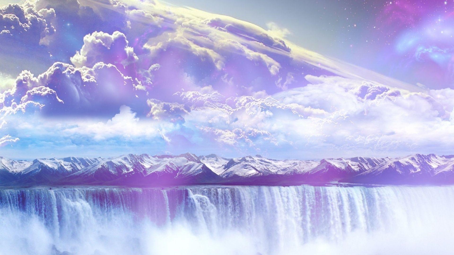 Res: 1920x1080,  Galaxy Waterfall Mountains Sky desktop PC and Mac wallpaper
