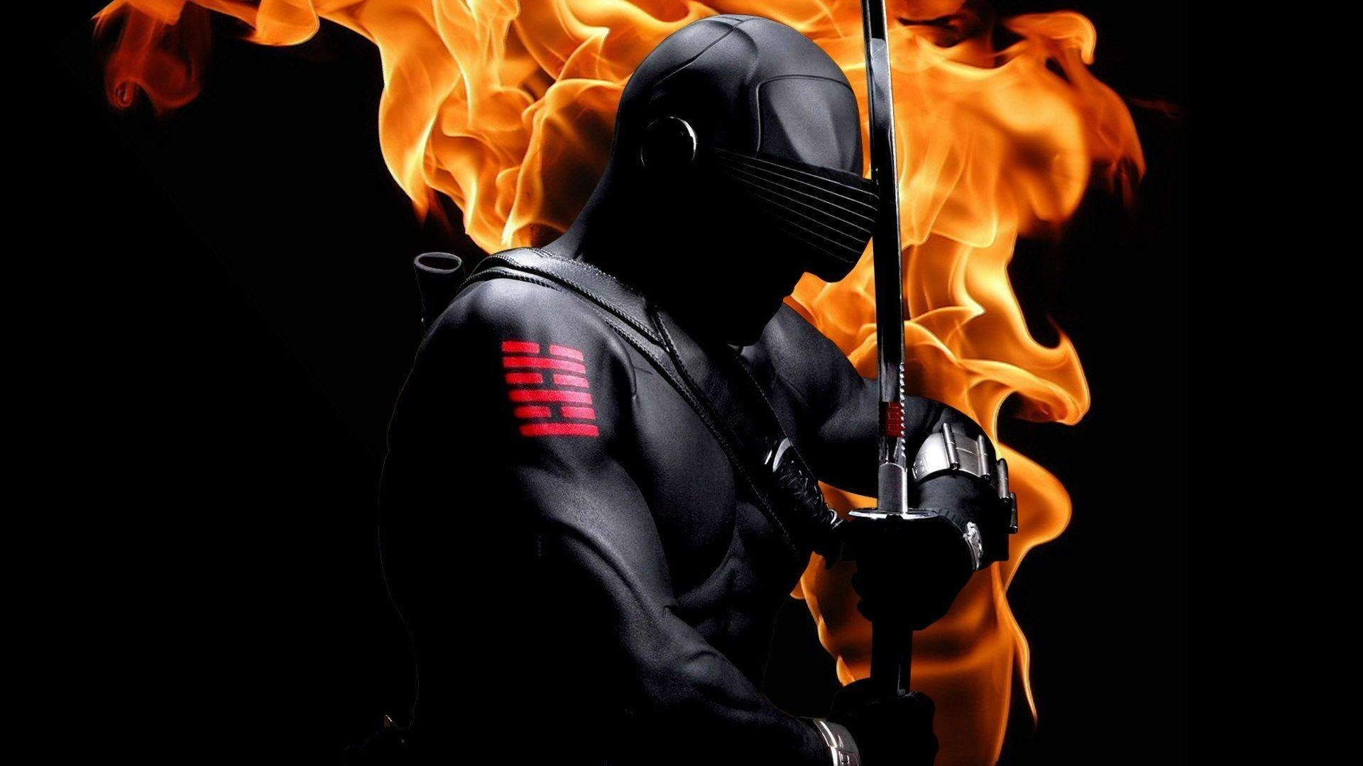 Res: 1920x1080, Snake Eyes (G.I. Joe) with sword on fire - Wallpapers Picture