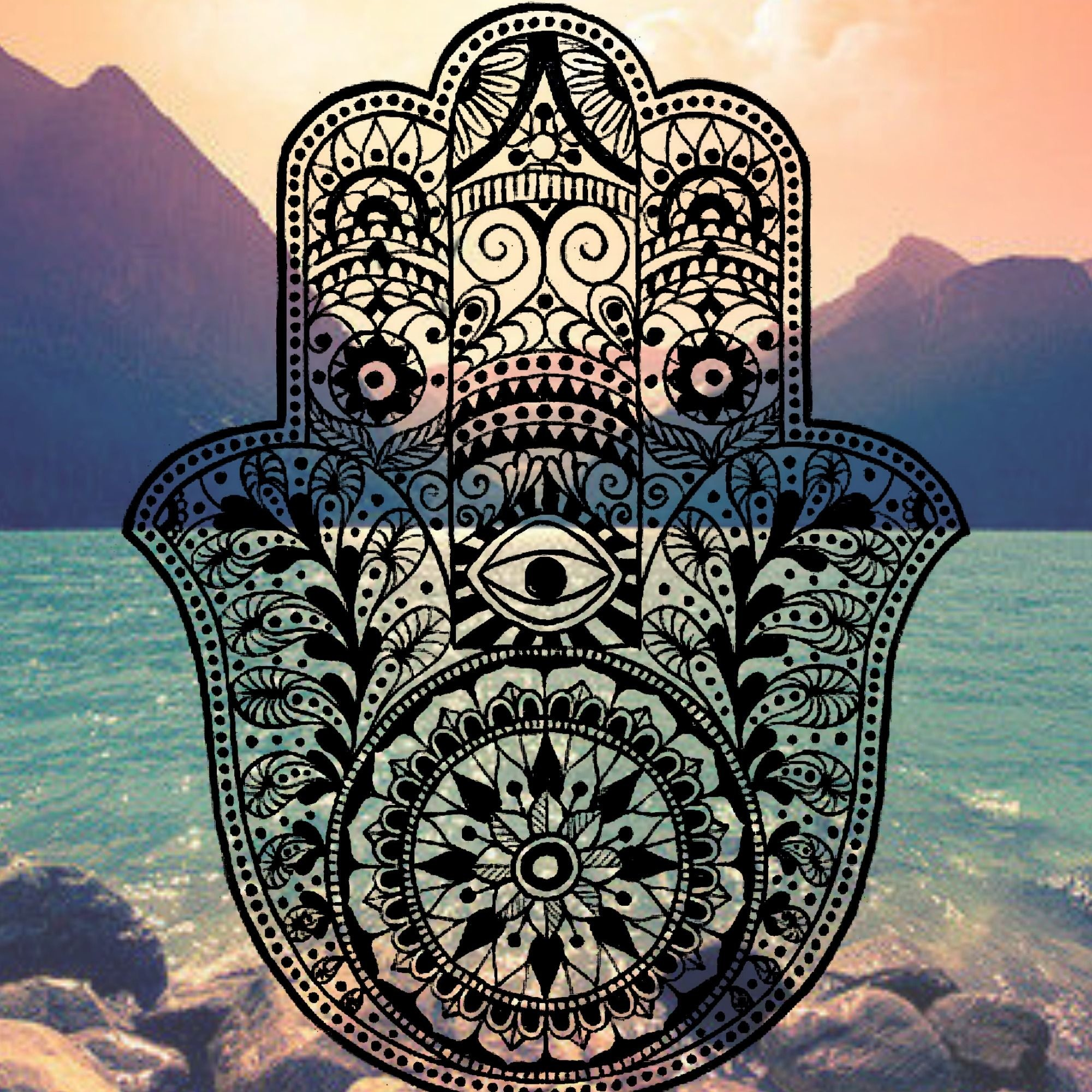 Res: 2000x2000, Hamsa iPhone Background mountain ocean tumblr evil eye hams hand henna