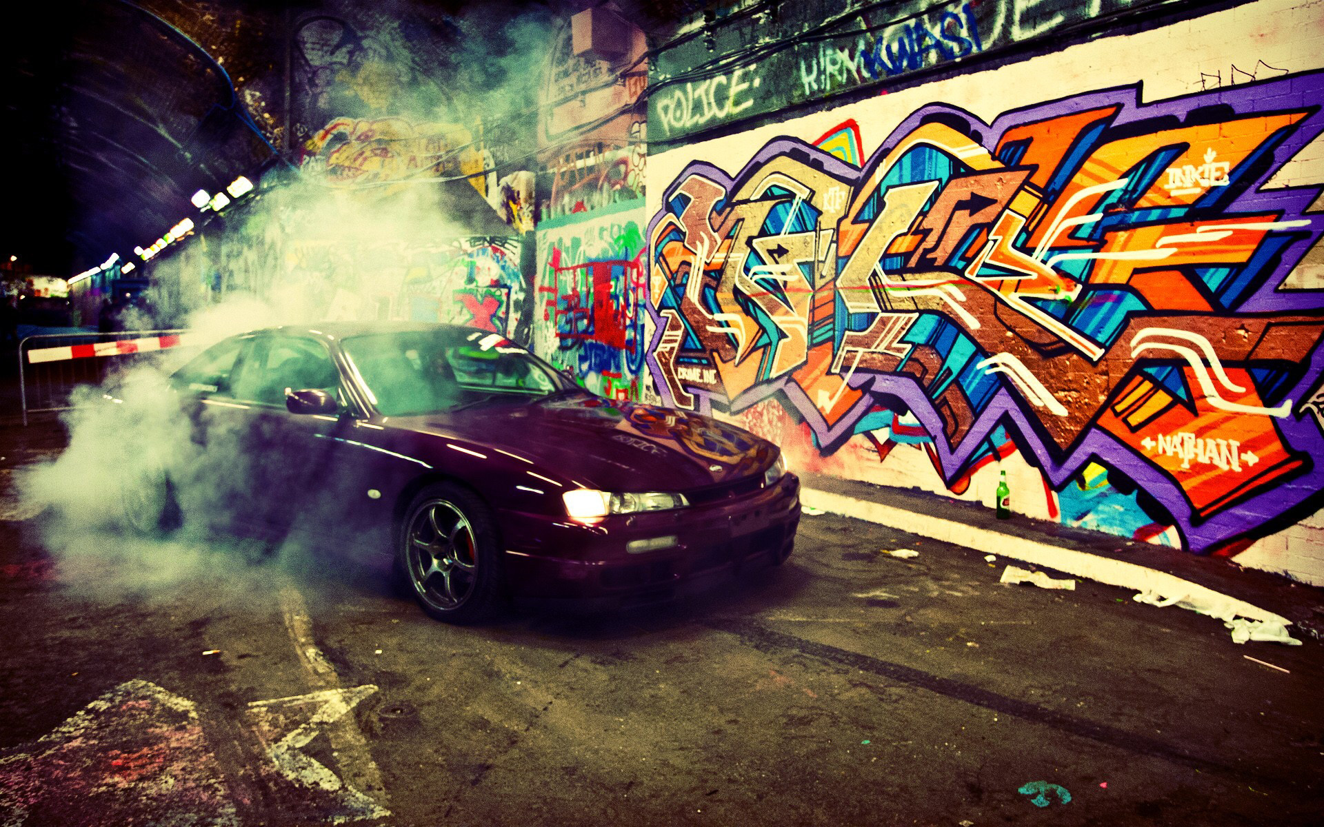 Res: 1920x1200, ... from http://www.walldevil.com/wallpapers /w03/941387-burnout-cars-graffiti-jdm-japanese-domestic-market-nissan-silvia-s14-smoke-underground-vehicles.jpg.