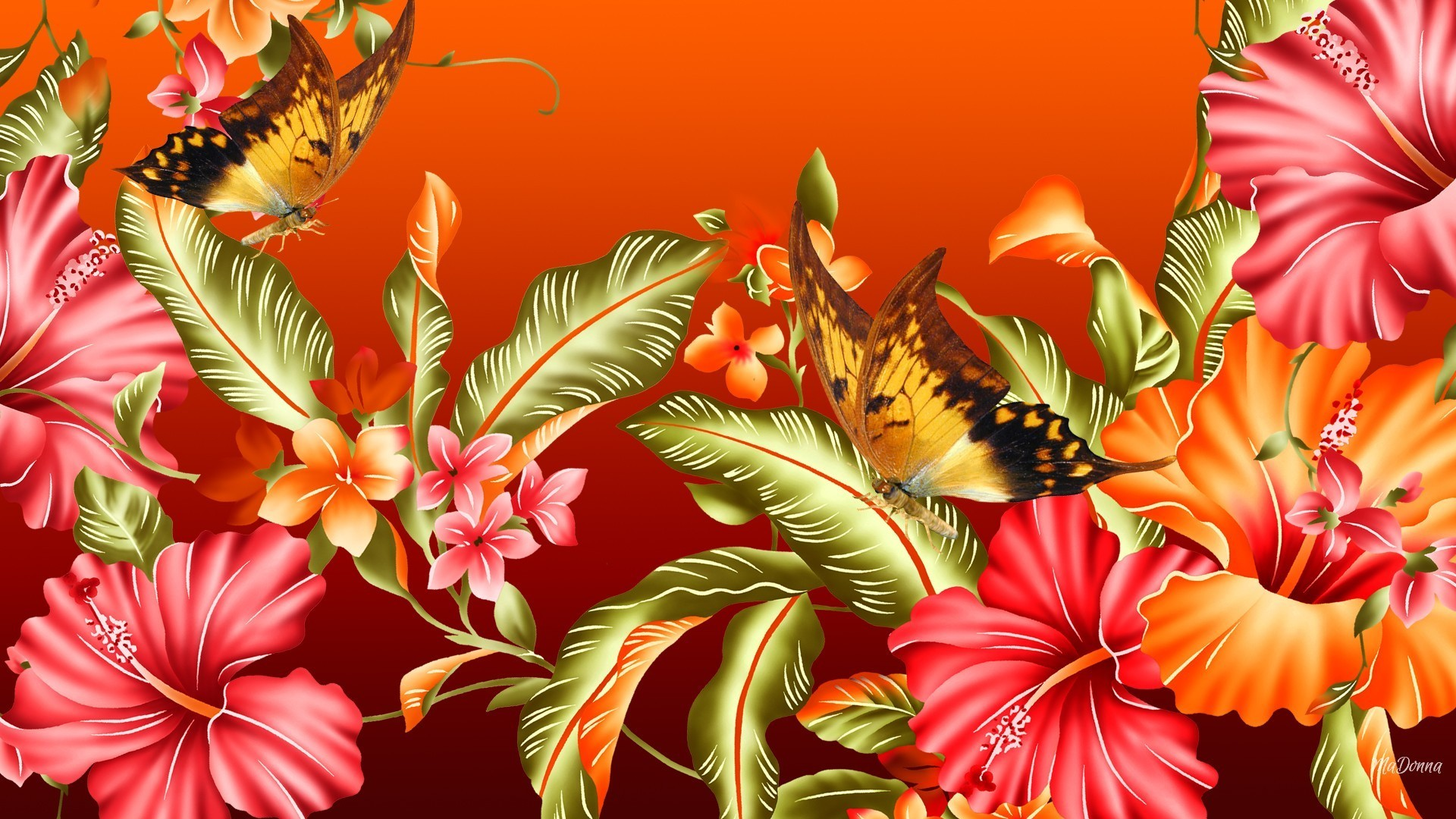 Res: 1920x1080, Leaves Butterflies Bright Flowers Summer Spring Hibiscus Glorious Flower  Wallpapers Mac
