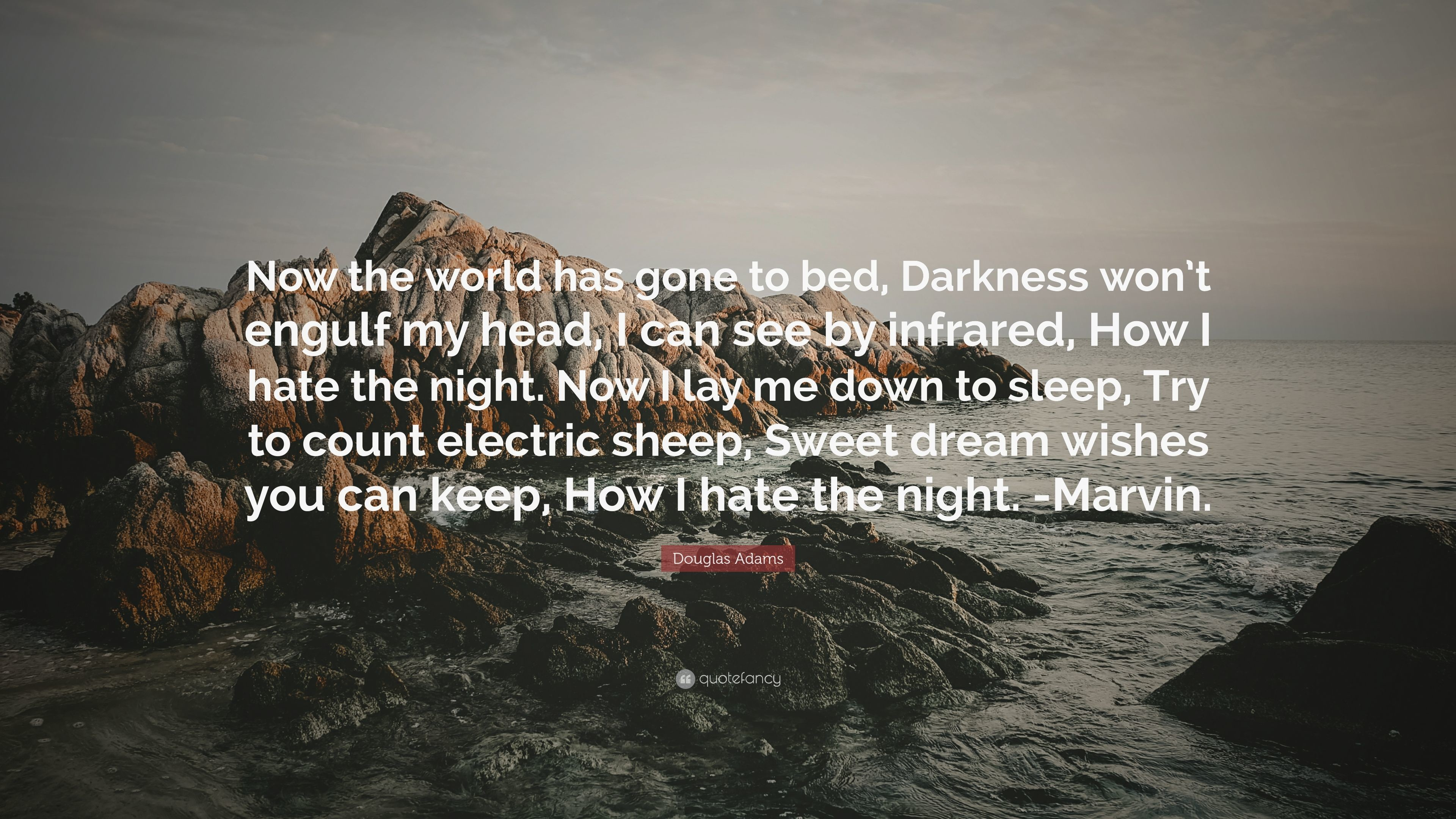 "Res: 3840x2160, Douglas Adams Quote: ""Now the world has gone to bed, Darkness won'"
