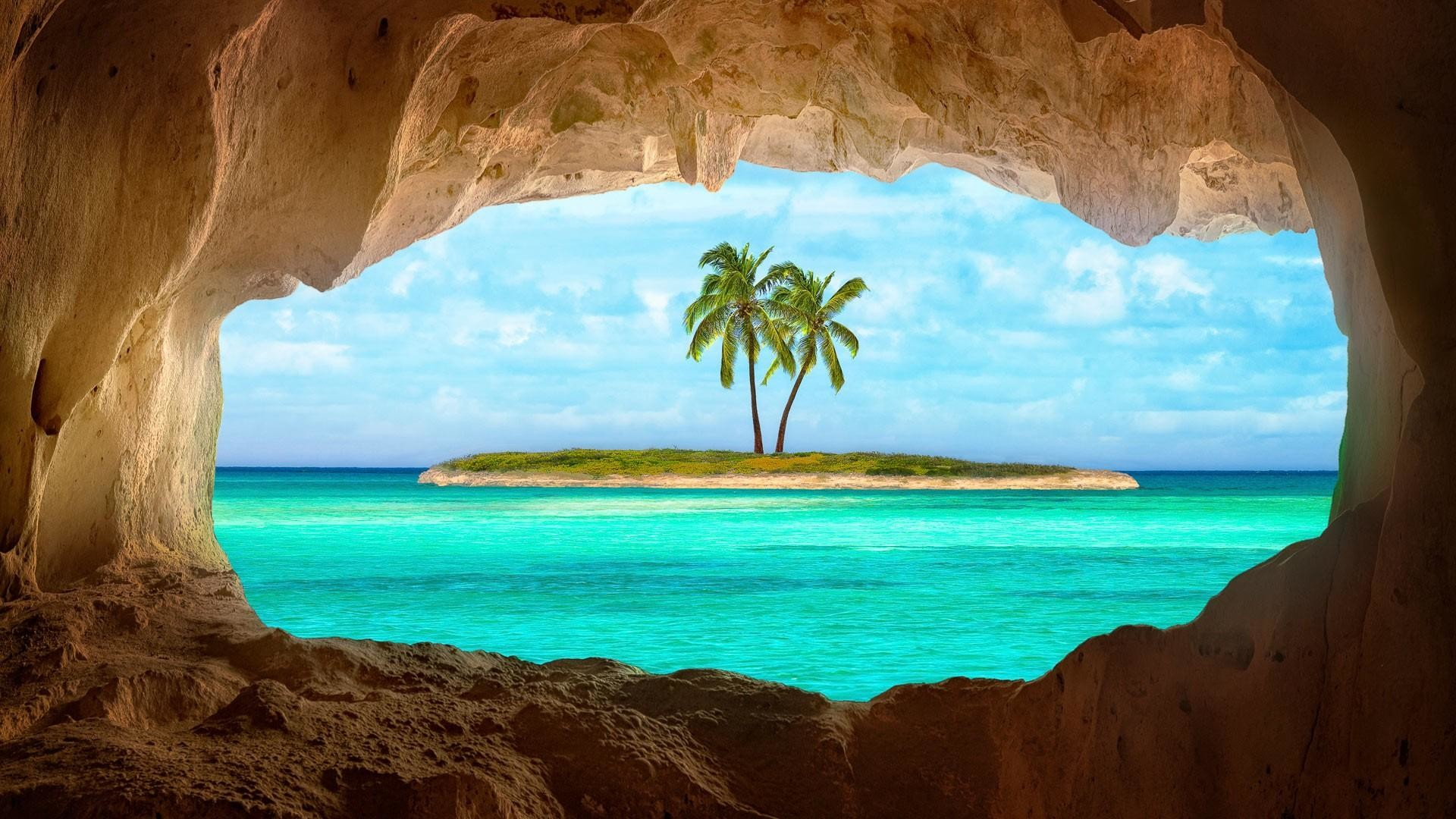 Res: 1920x1080, Old Indian Cave On Turks And Caicos Island Wallpaper | Wallpaper Studio 10  | Tens of thousands HD and UltraHD wallpapers for Android, Windows and Xbox