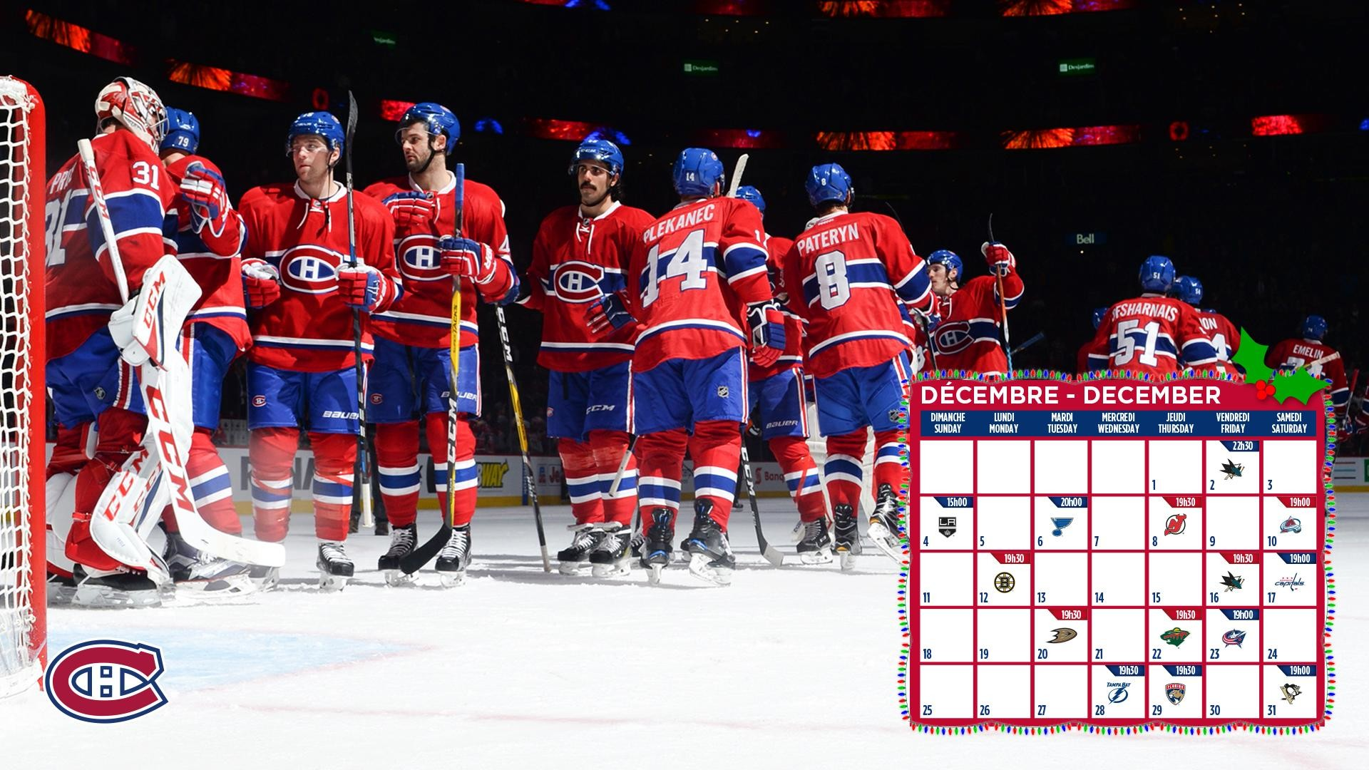 Res: 1920x1080, The official Montreal Canadiens desktop wallpaper for December.