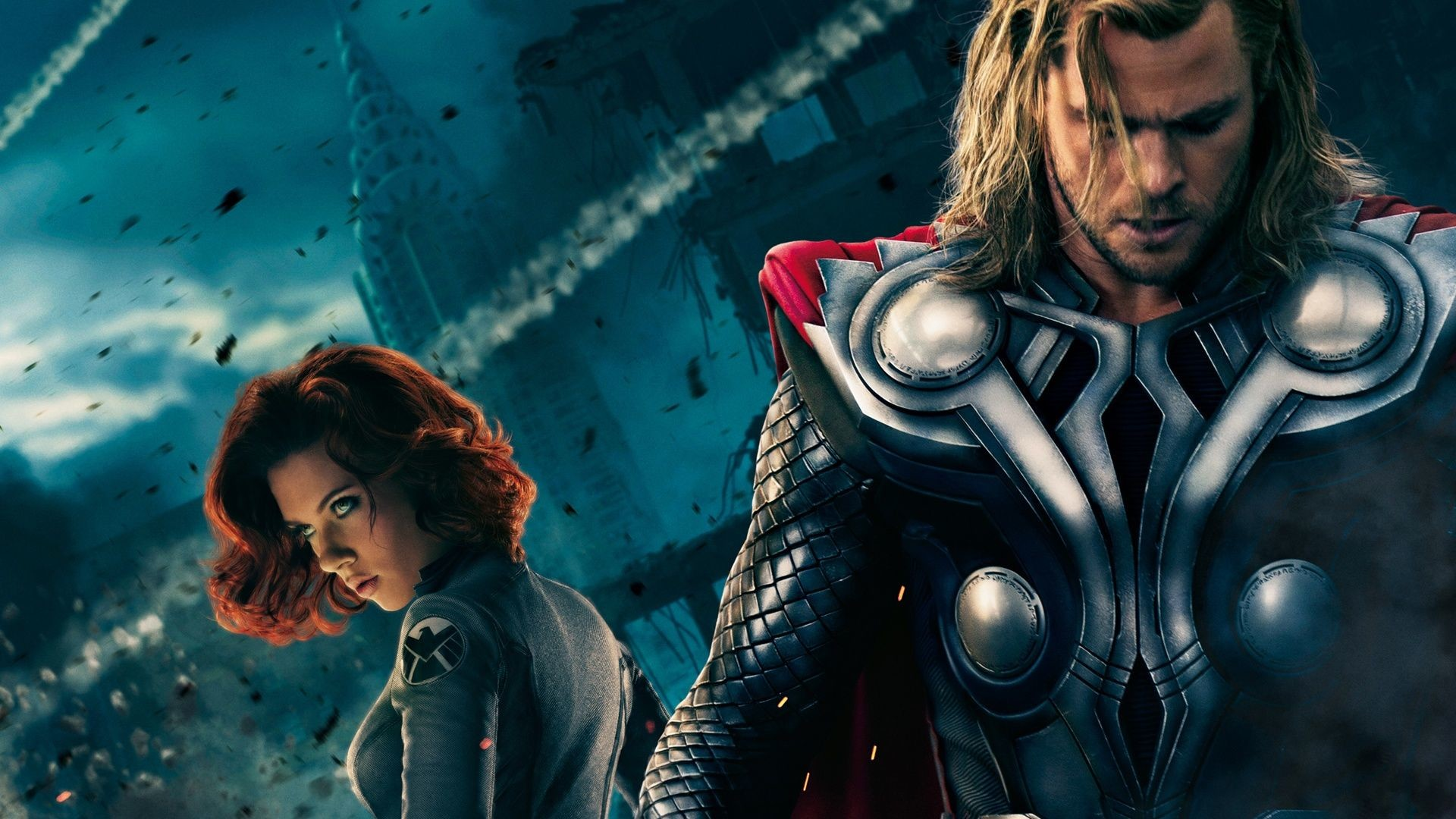 Res: 1920x1080, La Viuda Negra (Natasha Romanoff) y Thor- Scarlett Johansson y Chris  Hemsworth