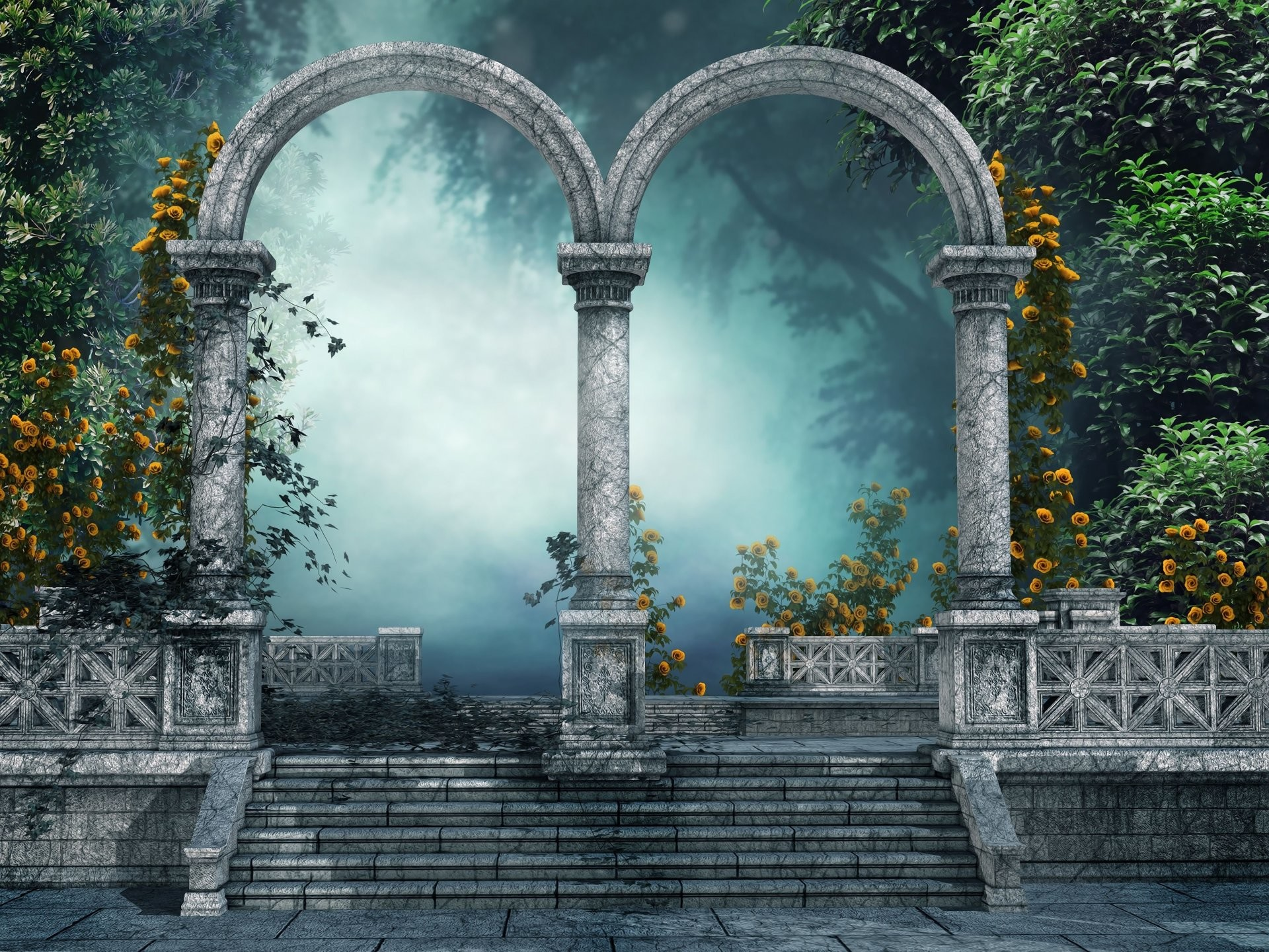 Res: 1920x1440, Bild: Arch Tor Blumen Pflanzen Foggy wallpapers and stock photos. Â«