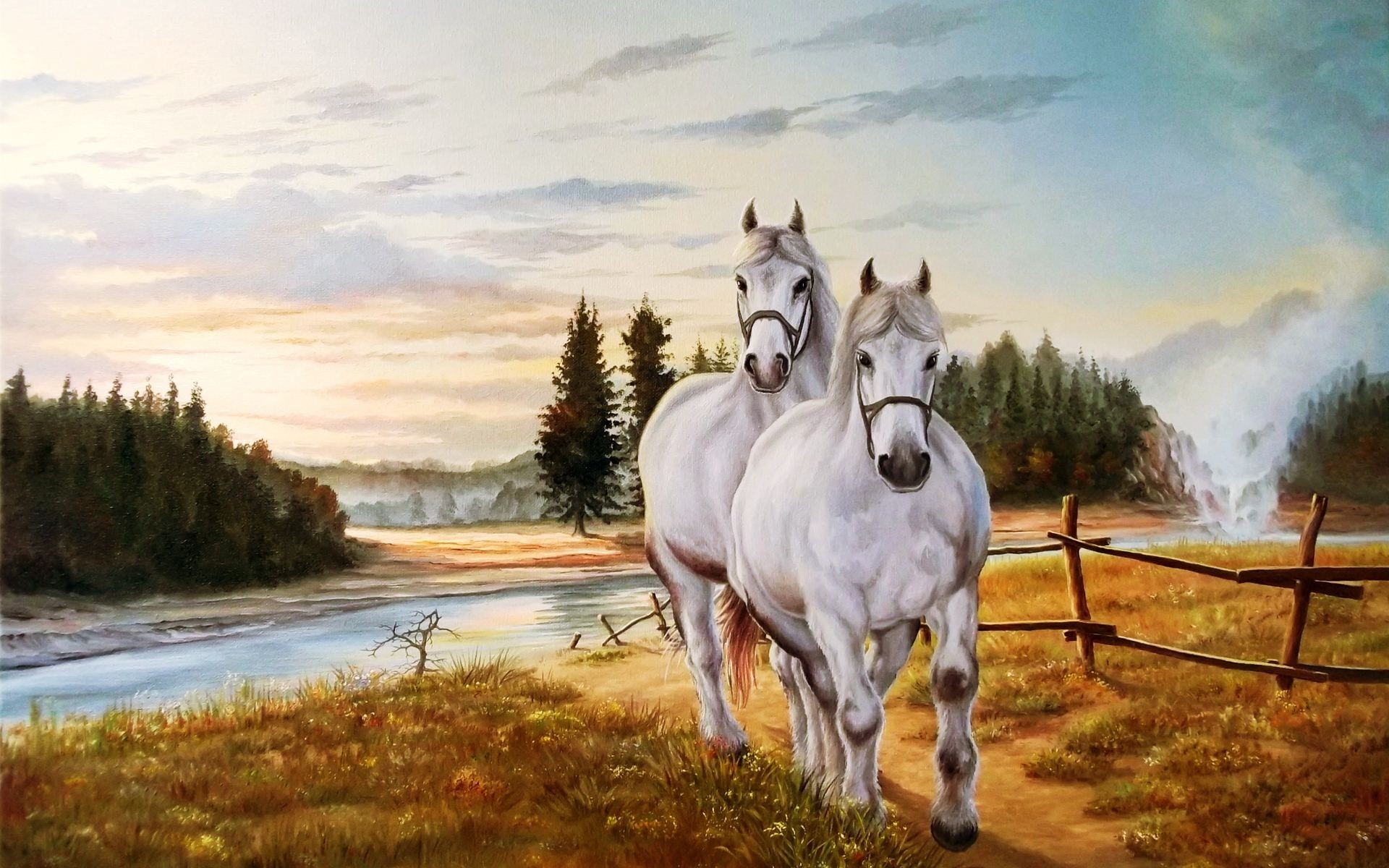 Res: 1920x1200, ... Horse Painting Wallpaper ...