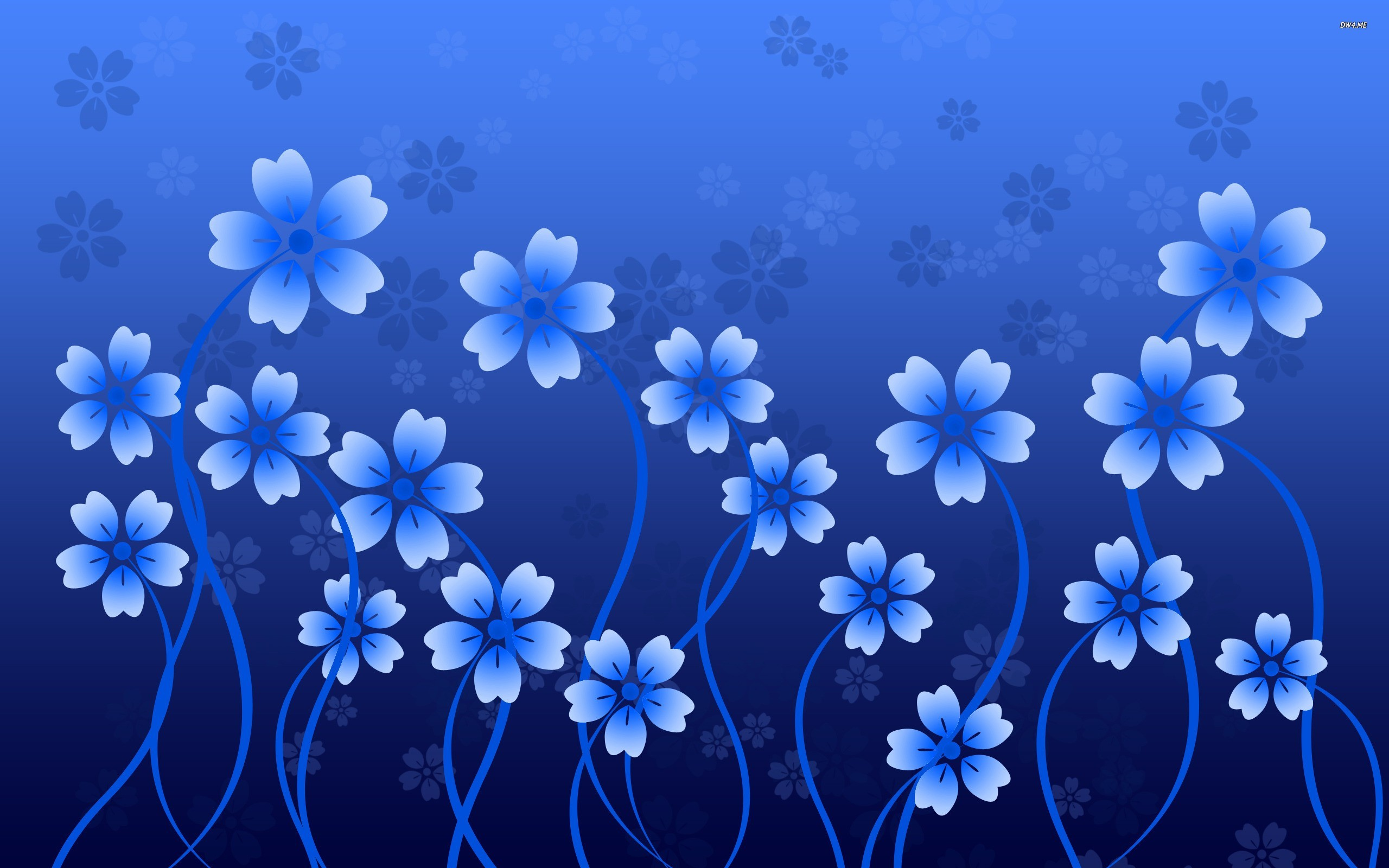 Res: 2560x1600, 2D Blue Flower Wallpaper Images