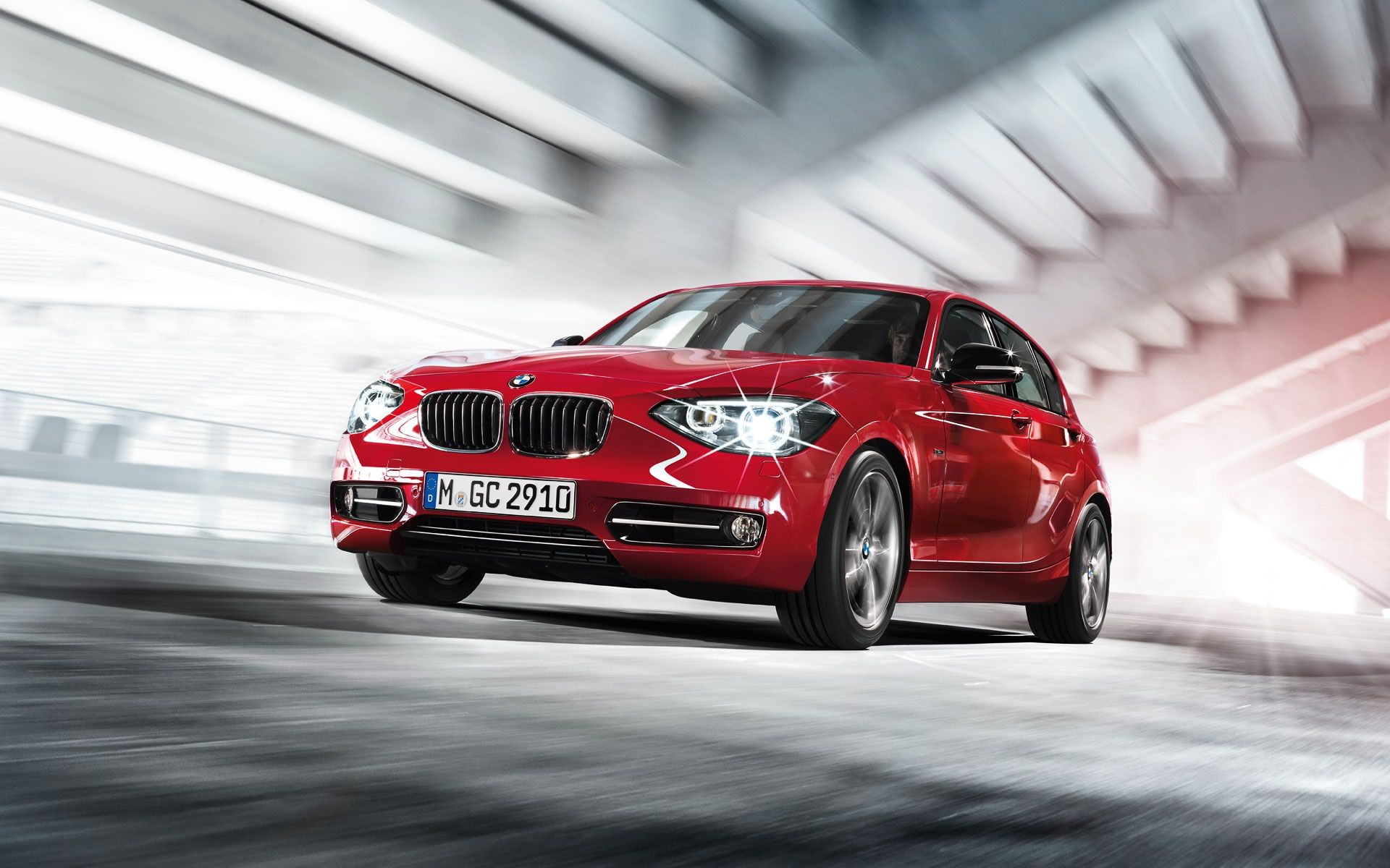 Res: 1920x1200, 2013 BMW 1 Series Hatchback, red car, wallpaper, front side view