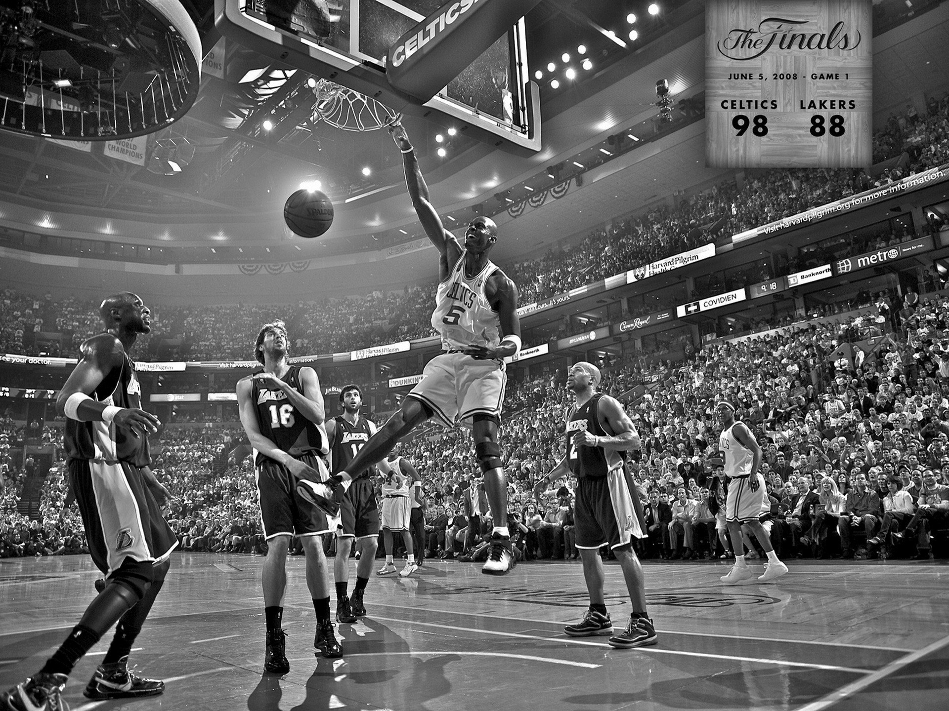 Res: 1920x1440, Boston celtics los angeles lakers nba basketball monochrome wallpaper