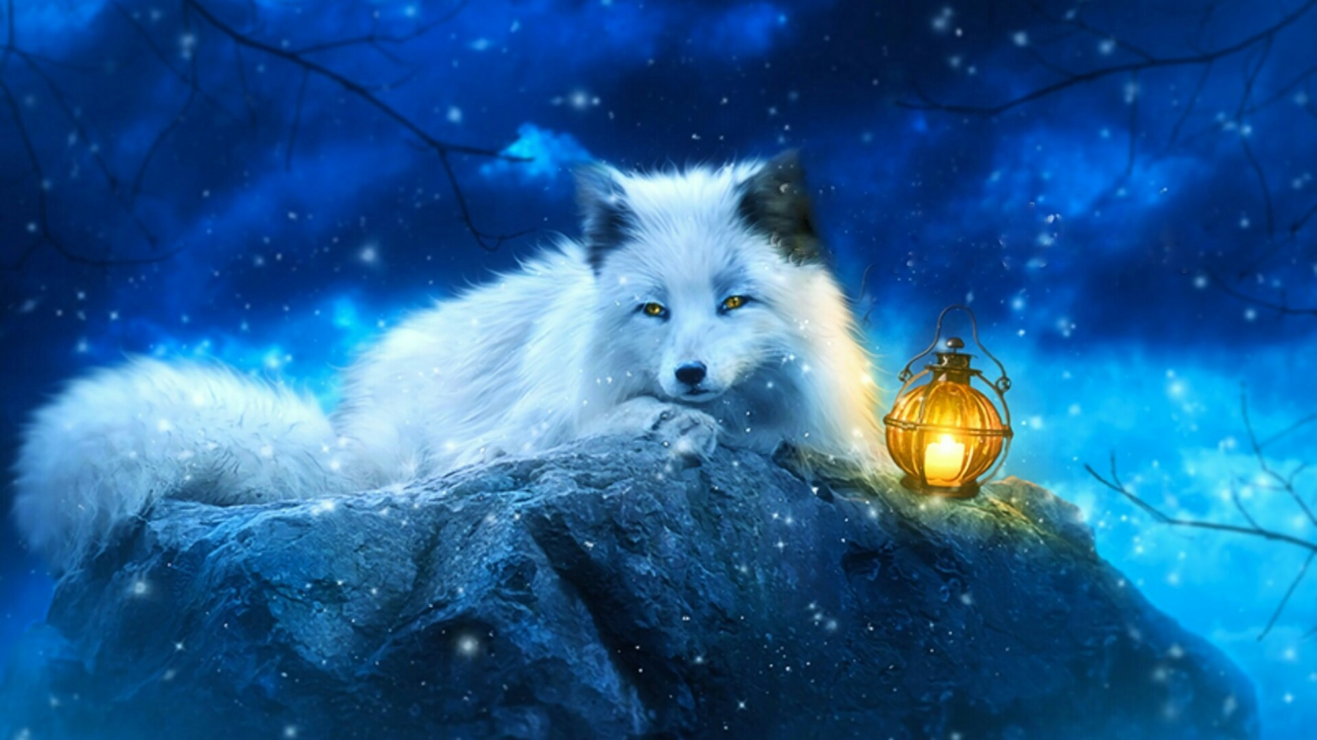 Res: 1920x1080, White Fox Art Wallpaper | Wallpaper Studio 10 | Tens of thousands HD and  UltraHD wallpapers for Android, Windows and Xbox