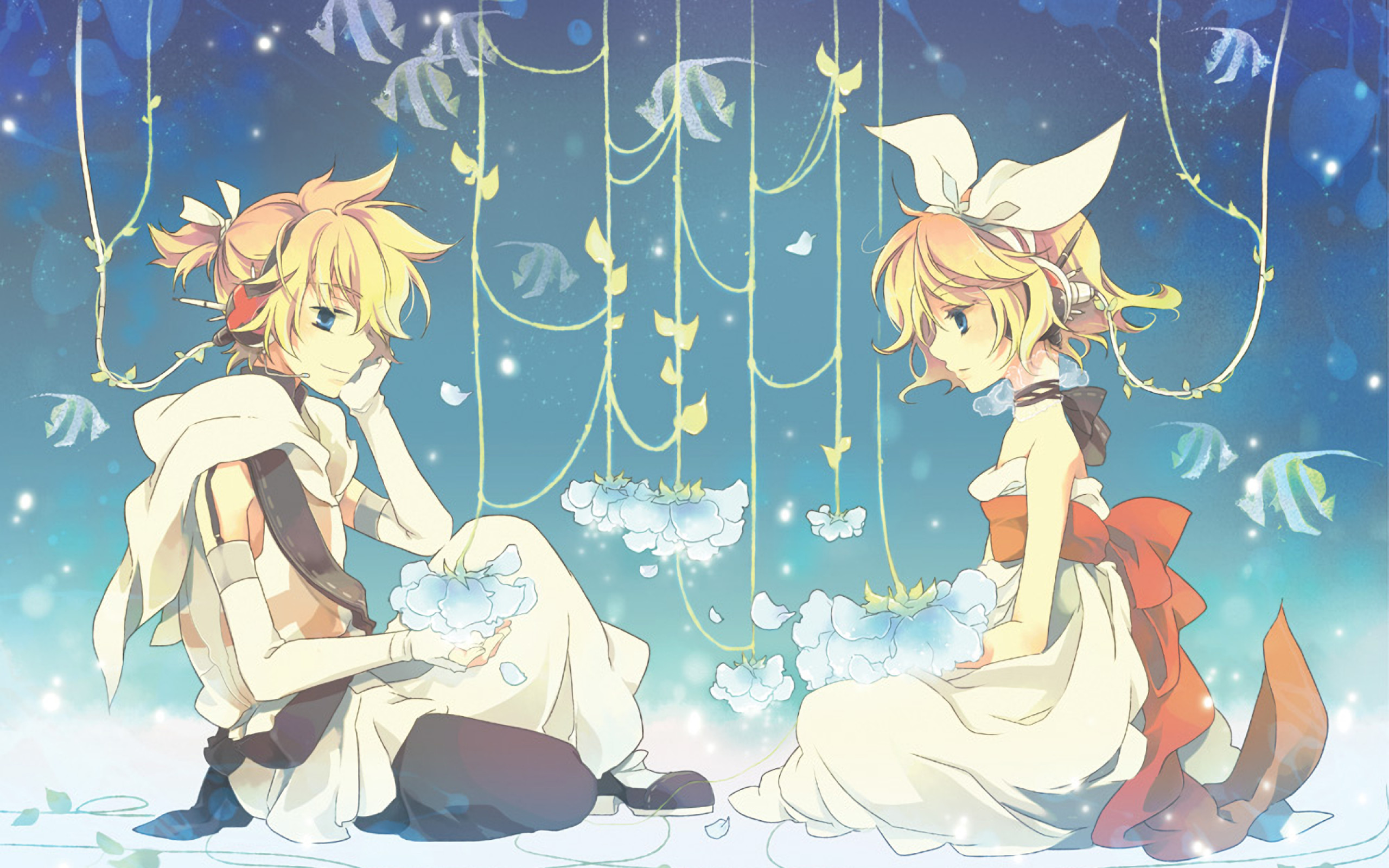 Res: 2560x1600, Kagamine Rin, Kagamine Len, Vocaloid, Blonde, Dress, Ribbons