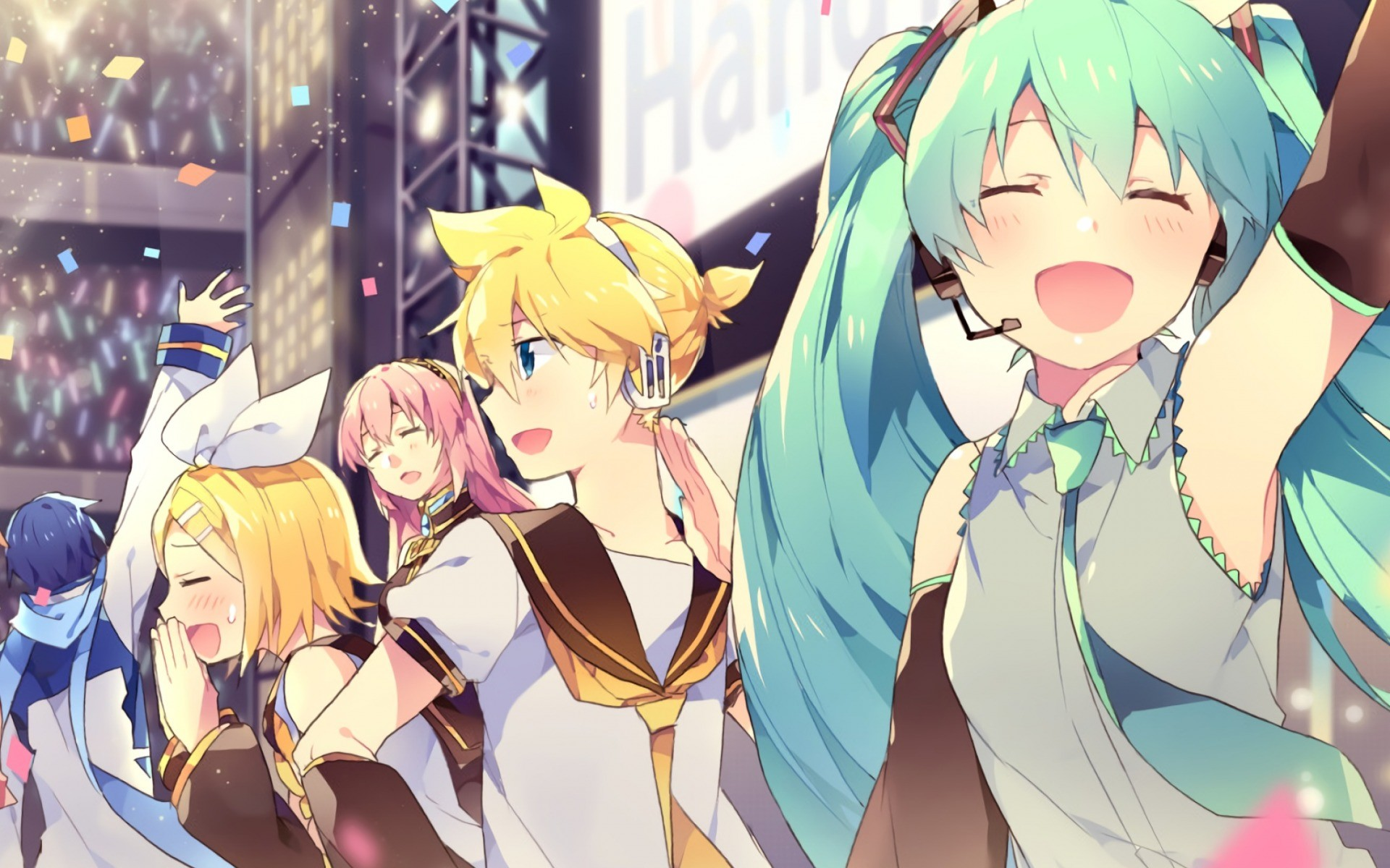 Res: 1920x1200, Vocaloid, Japanese manga, anime, Megurine Luka, Kagamine Rin, Kaito,  Kagamine