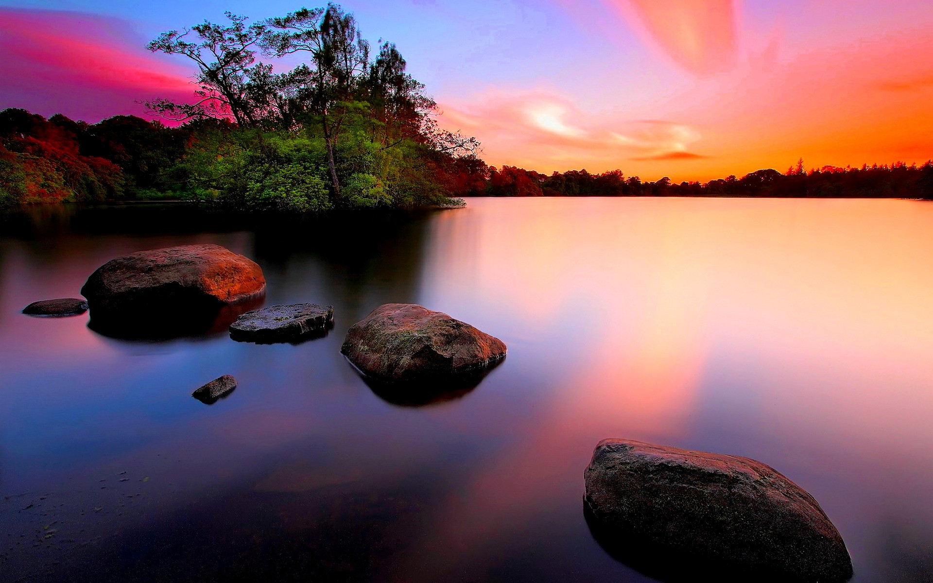 Res: 1920x1200, Earth - Scenic Sunset Tree Rock Water Colorful Sky Wallpaper