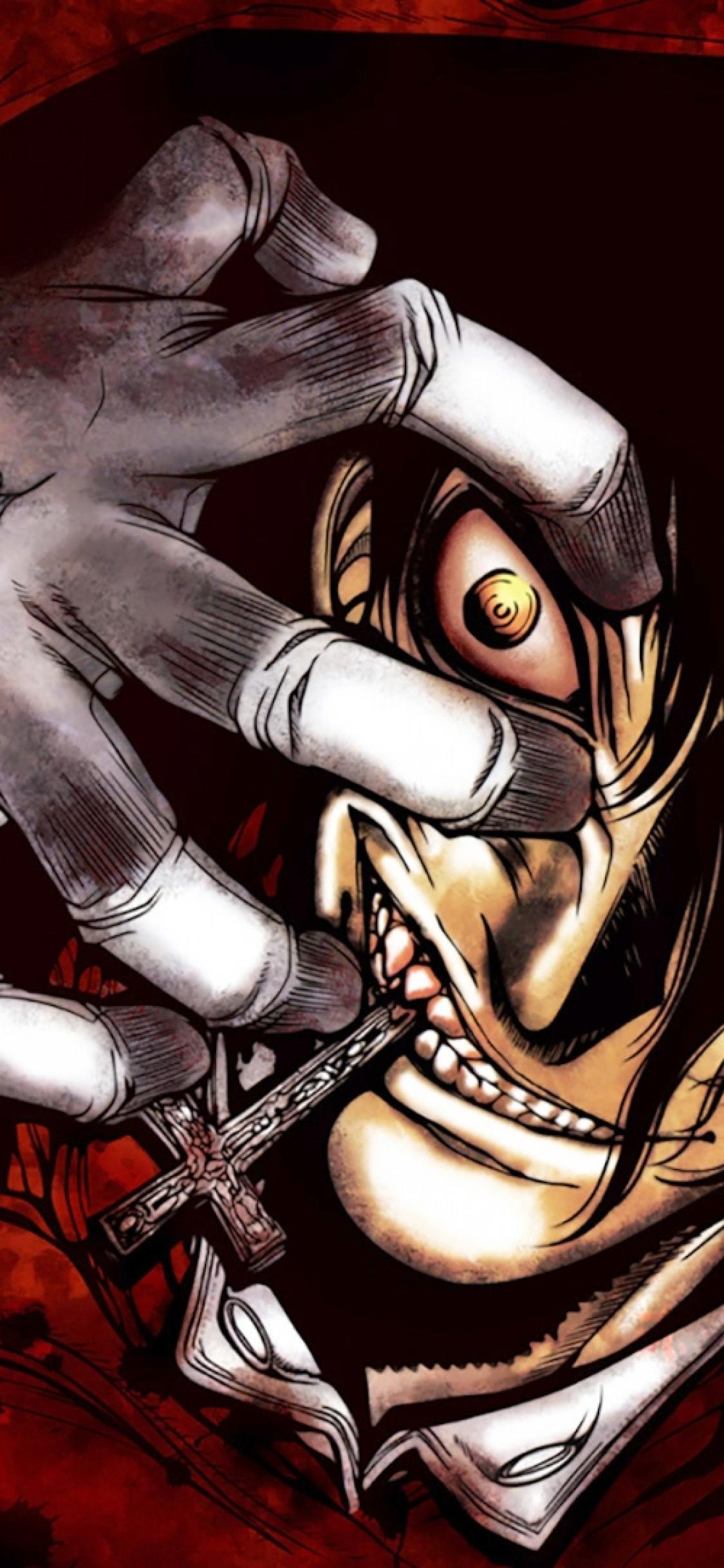 Res: 1125x2436, Hellsing, Alucard, Vampire, Creepy