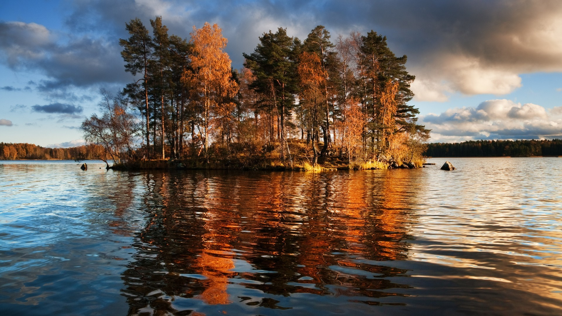 Res: 1920x1080, Lake trees autumn fall reflection wallpaper      117633    WallpaperUP