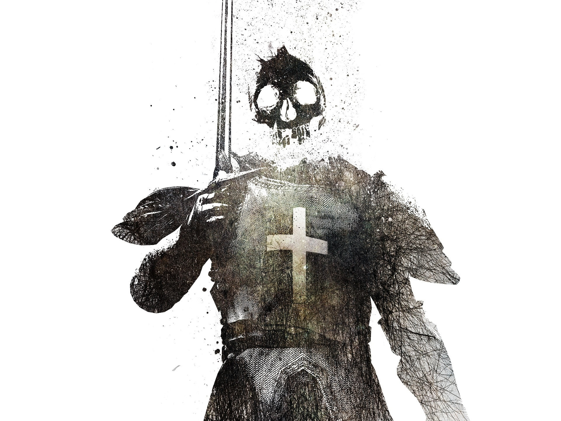 Res: 1920x1440, skull head knight character digital illustration HD wallpaper