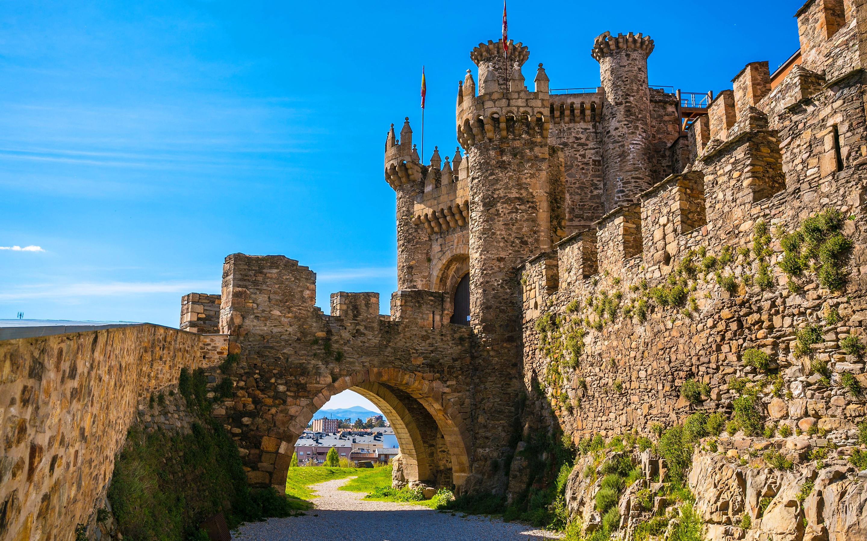 Res: 2880x1800, Knights Templar Castle, summer, spanish landmarks, Ponferrada, Spain