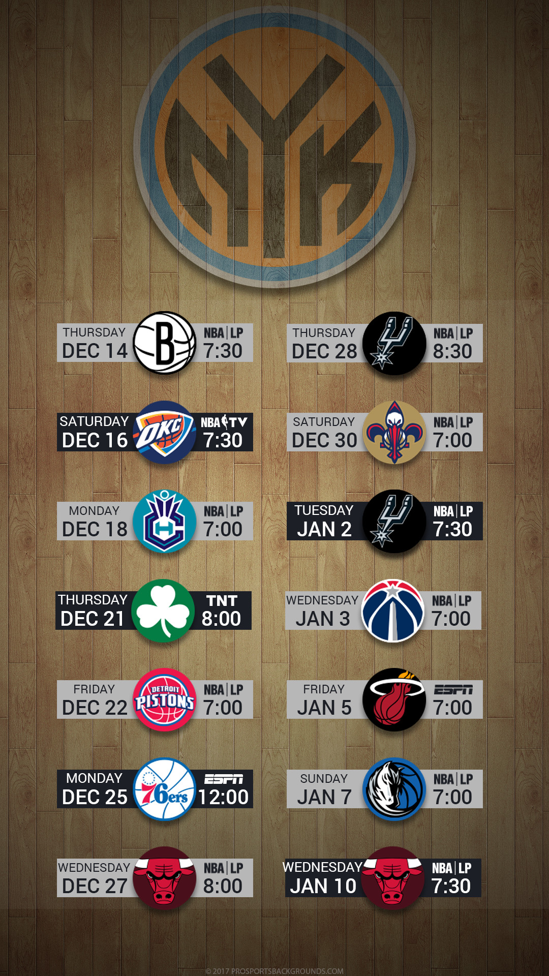 Res: 1080x1920, New York Knicks 2017 nba basketball december hardwood schedule wallpaper  for iphone andriod and windows mobile