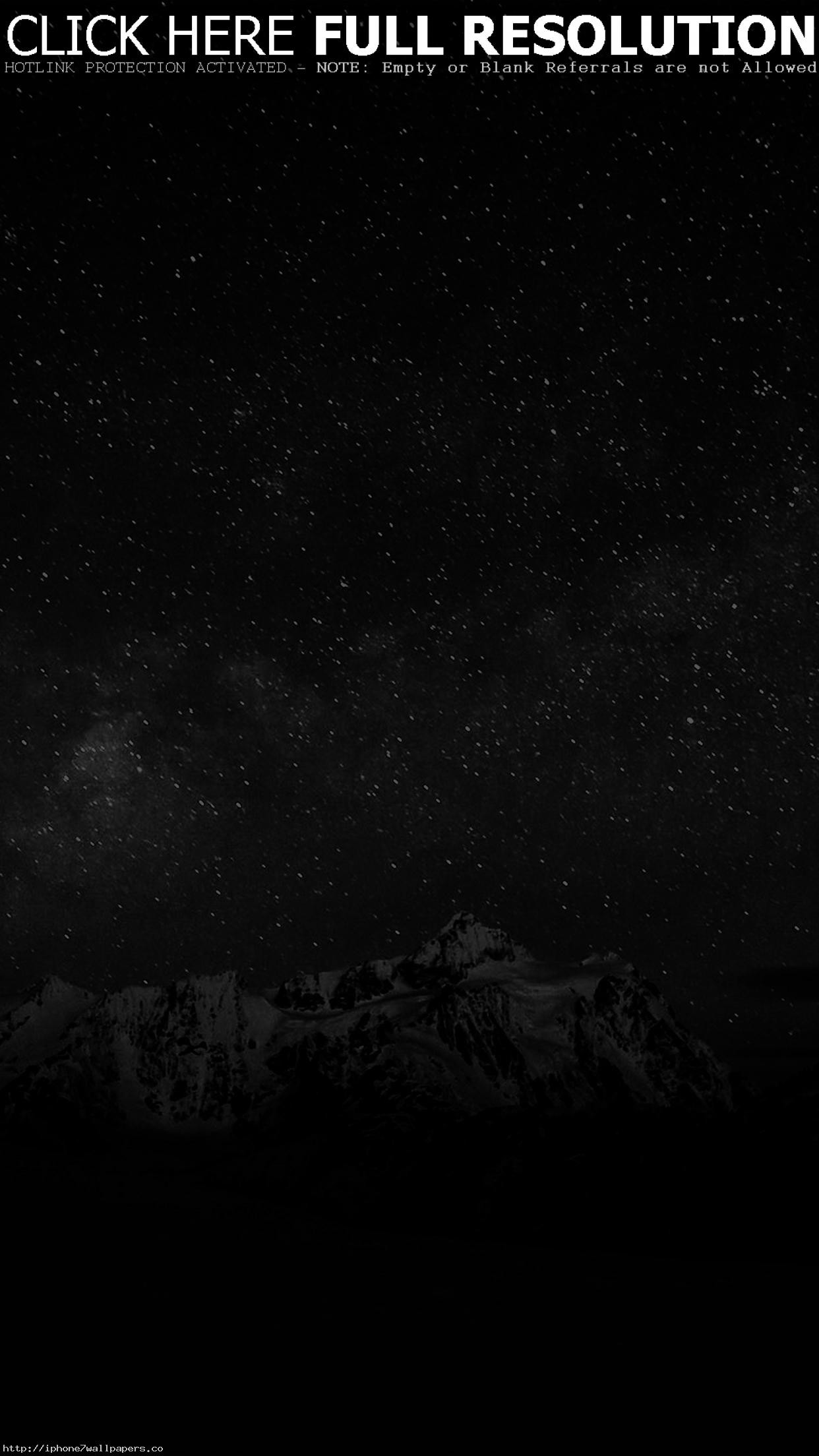 Res: 1242x2208, Starry Night Sky Mountain Nature Bw Dark Android wallpaper - Android HD  wallpapers