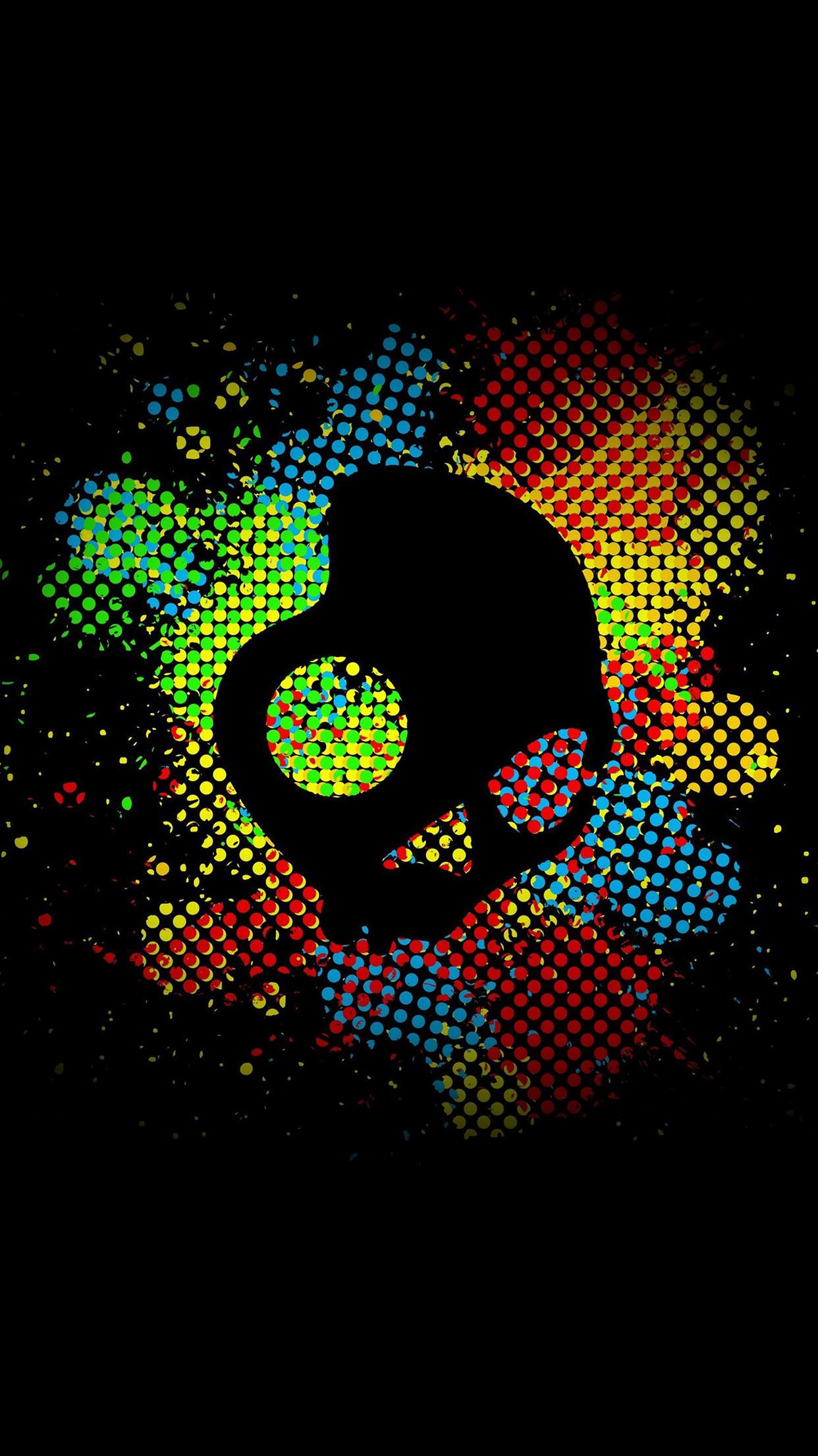 Res: 1242x2208, Colorful Skull Dark Art Illustration Android Wallpaper ...