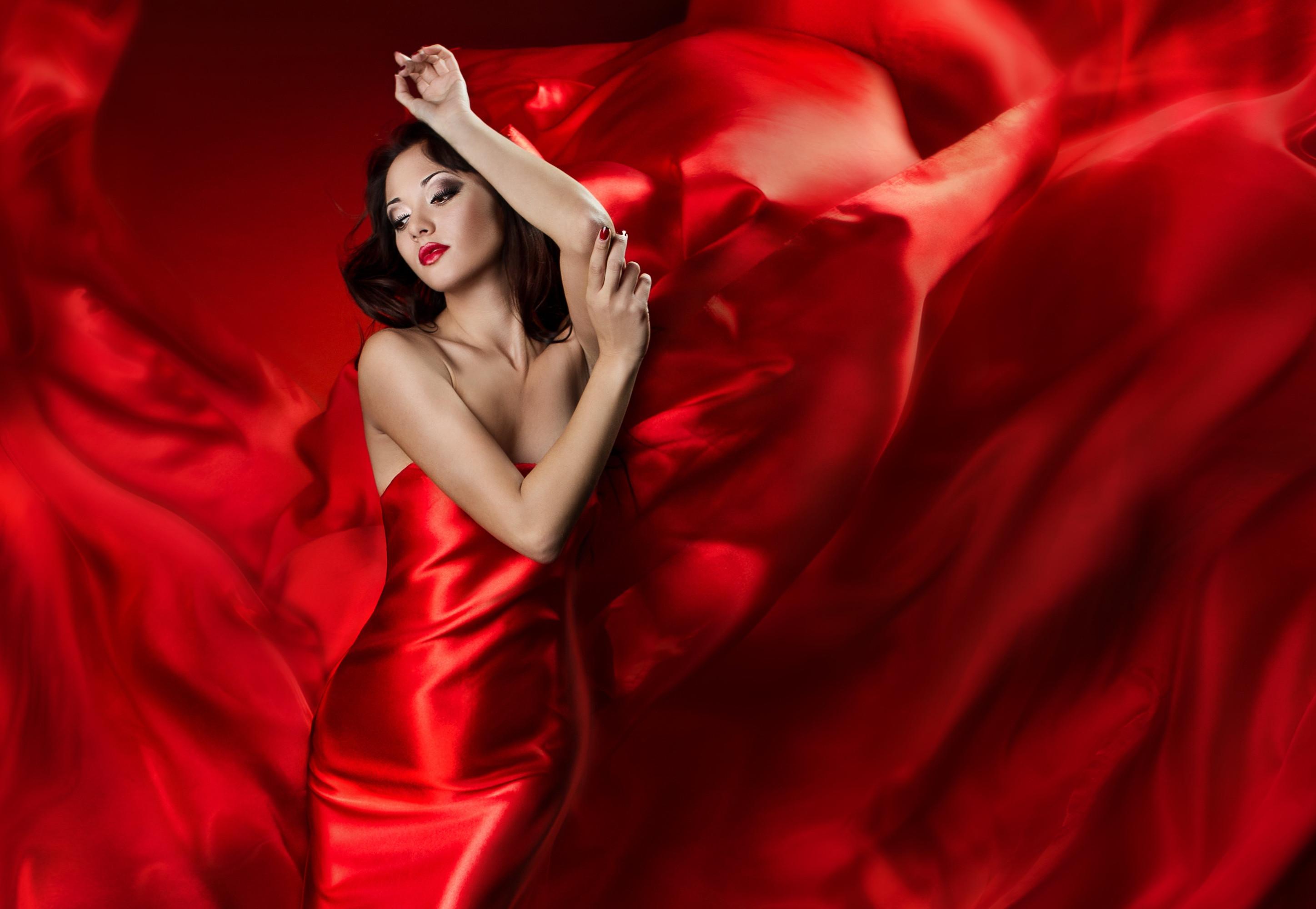 Res: 2895x2000, Women - Model Lipstick Woman Girl Red Satin Red Dress Brunette Wallpaper