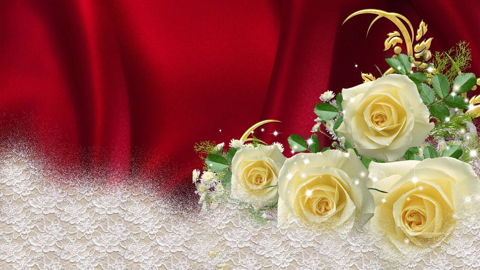 Res: 1920x1080, Yellow Roses On Red Satin