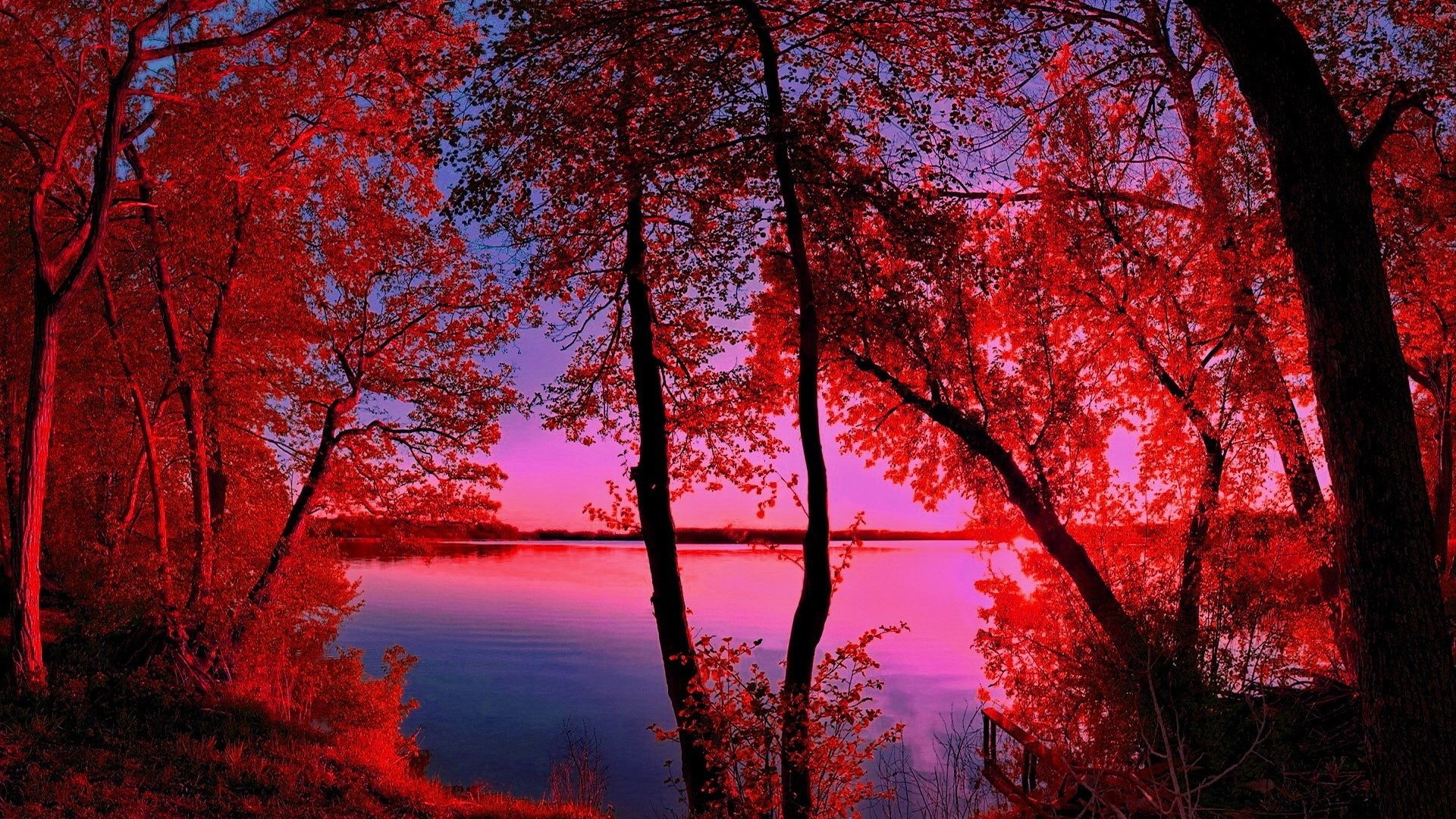 Res: 1920x1080, Lakes - Red Landscape ReWalls Tree Lake Nature Wallpaper HD for HD 16:9 High