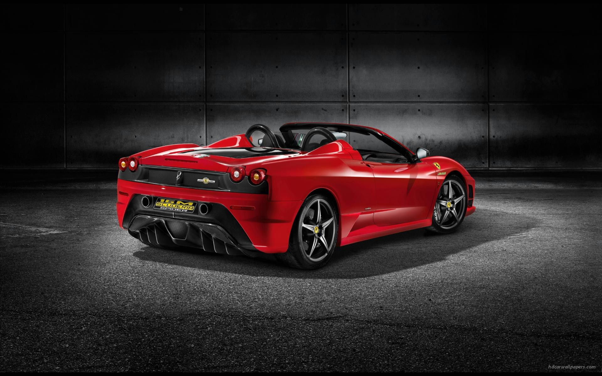 Res: 1920x1200, Ferrari Scuderia Spyder Car Poster Print on 10 mil Archival Satin Paper Red  Rear Side View